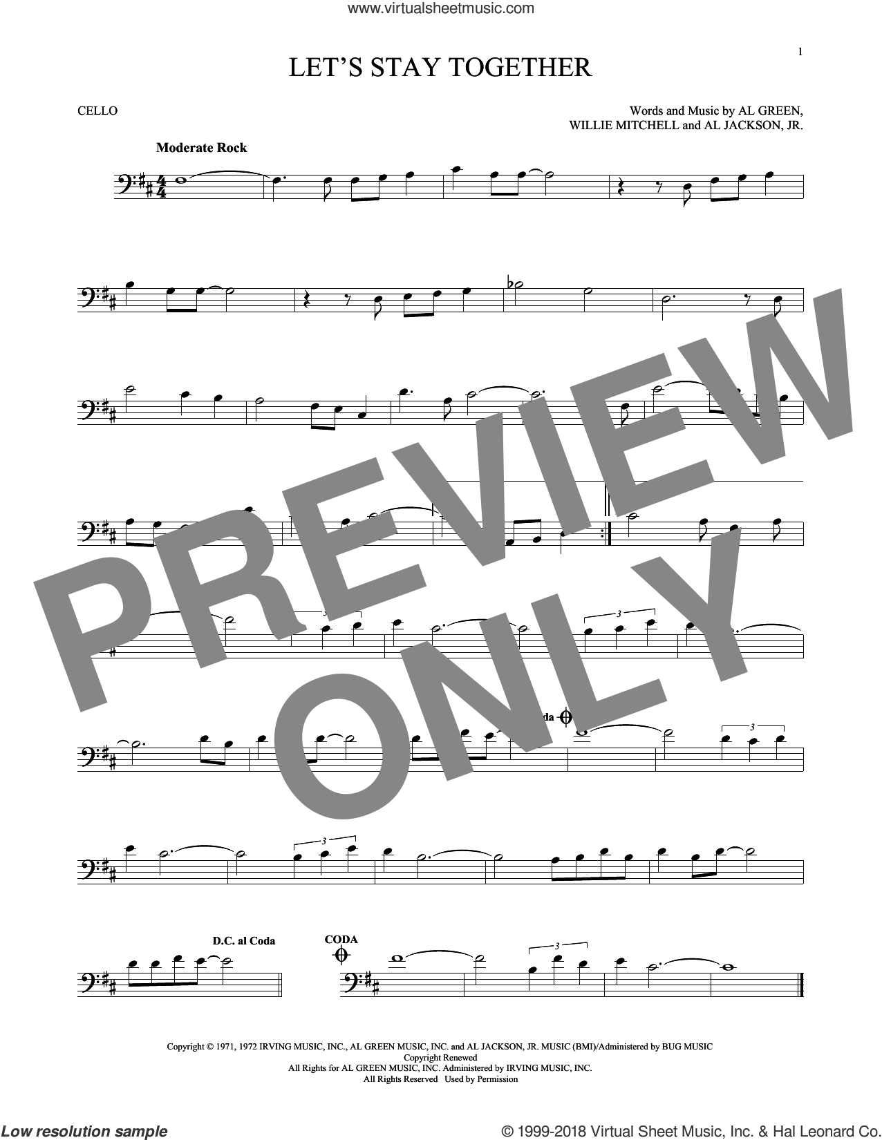 Let's Stay Together sheet music for cello solo by Al Green and Willie Mitchell, intermediate cello. Score Image Preview.