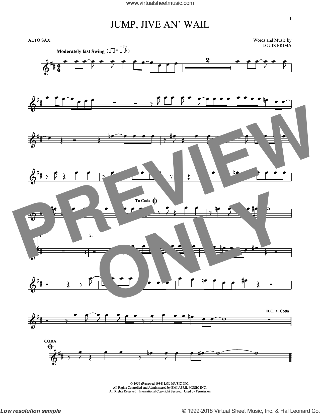 Jump, Jive An' Wail sheet music for alto saxophone solo by Louis Prima and Brian Setzer, intermediate skill level