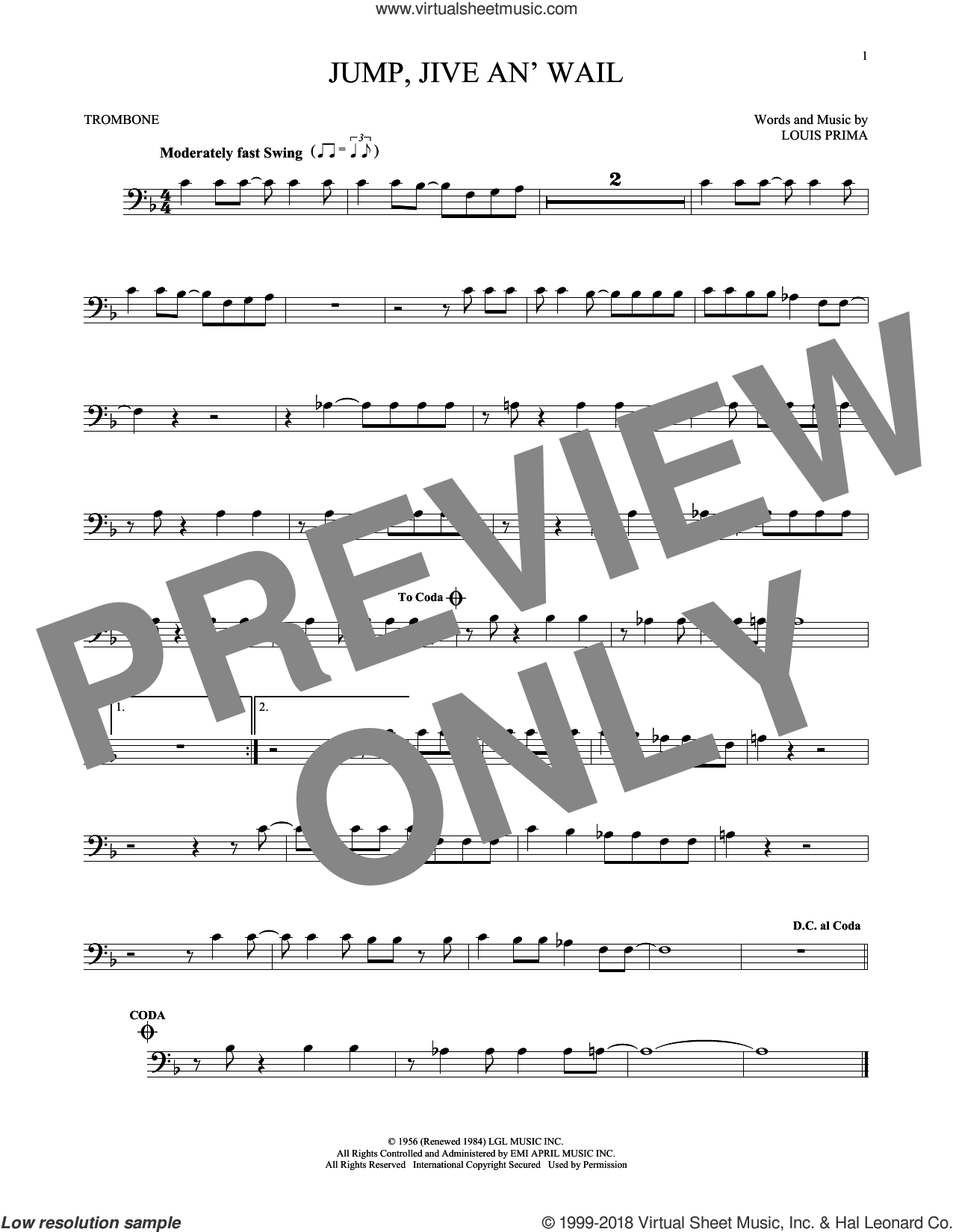Jump, Jive An' Wail sheet music for trombone solo by Louis Prima and Brian Setzer, intermediate skill level