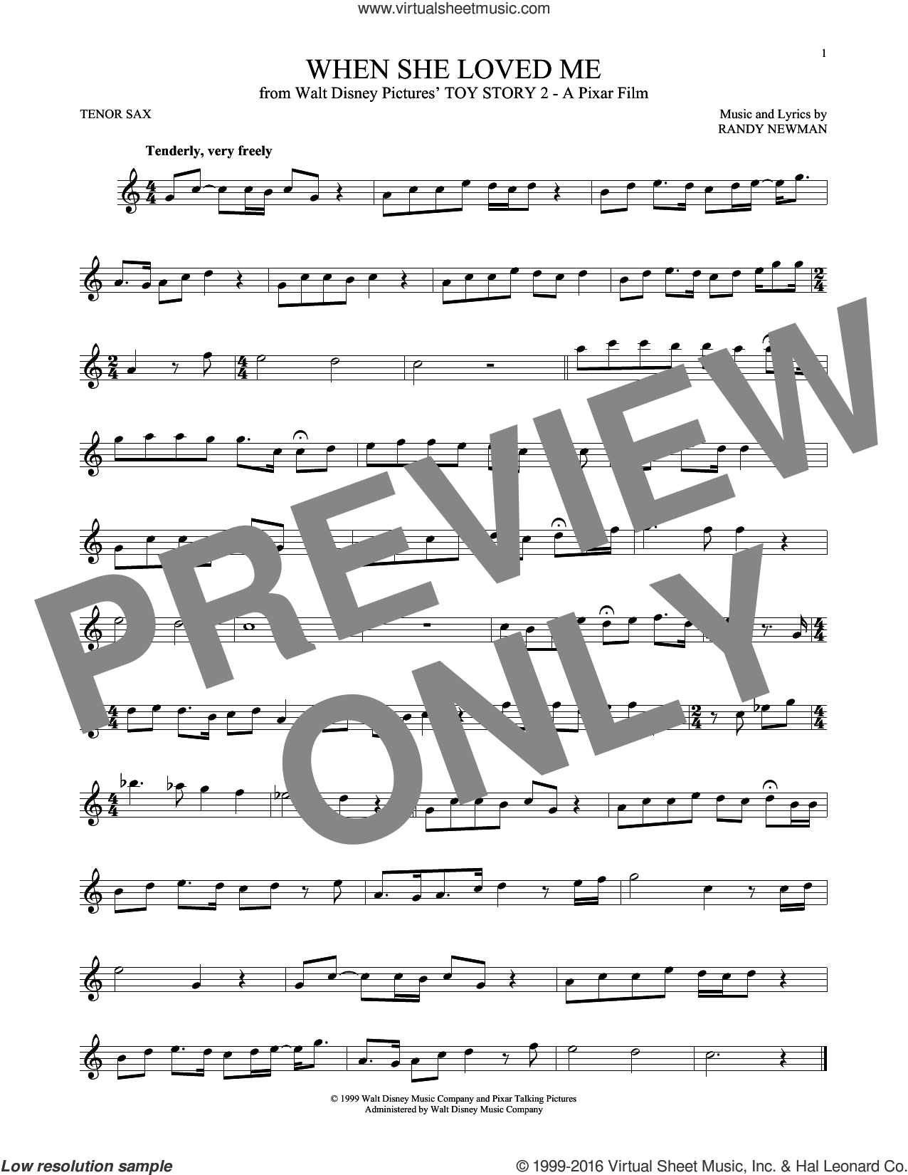 When She Loved Me (from Toy Story 2) sheet music for tenor saxophone solo by Sarah McLachlan and Randy Newman, intermediate skill level