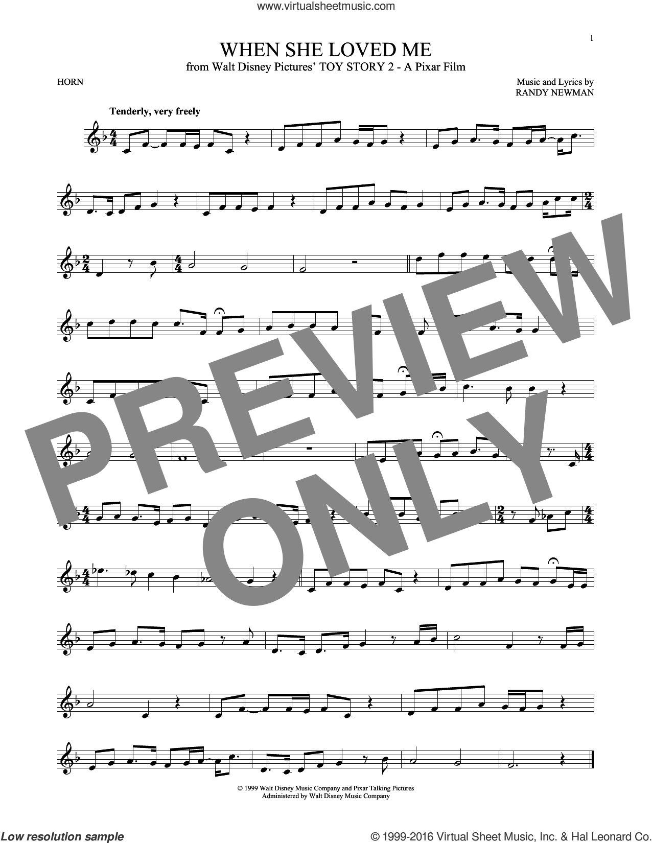 When She Loved Me sheet music for horn solo by Sarah McLachlan and Randy Newman, intermediate horn. Score Image Preview.