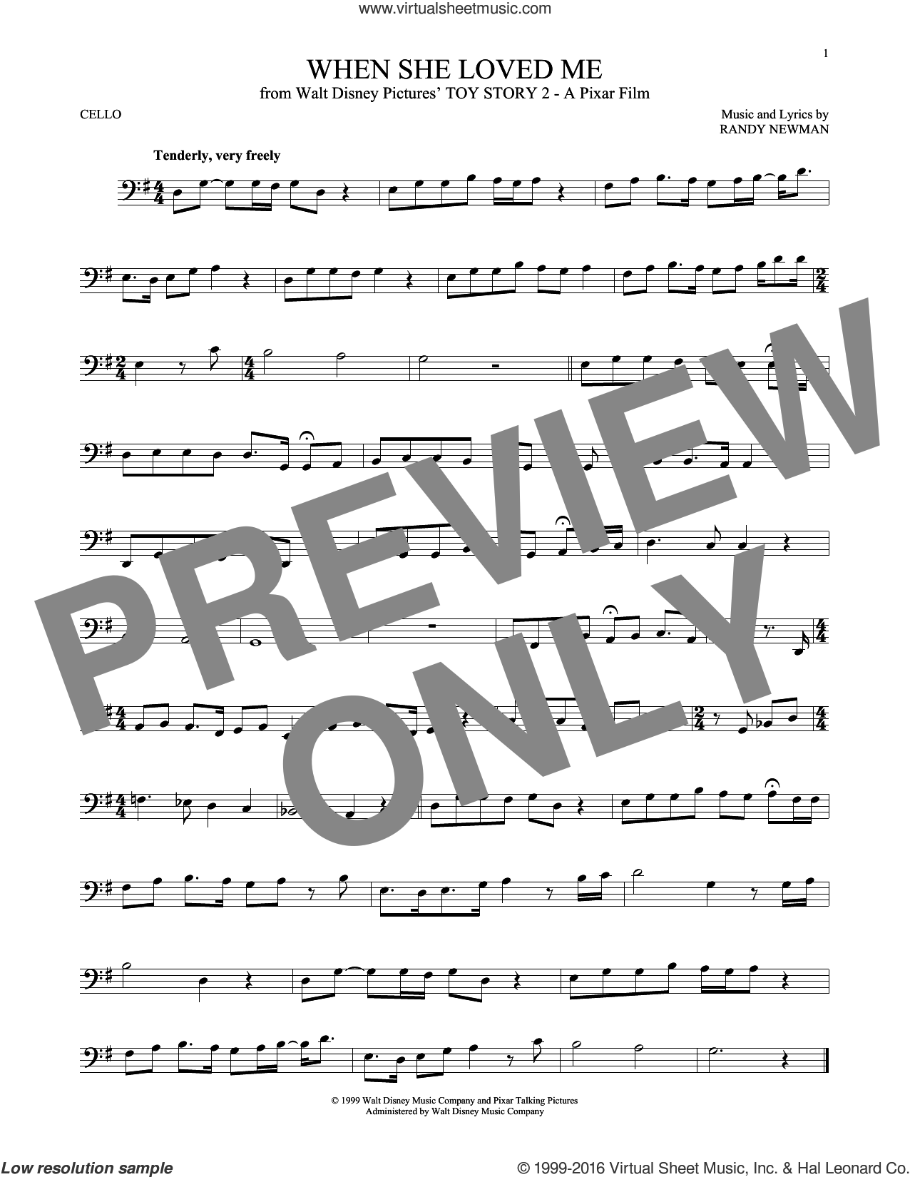 When She Loved Me (from Toy Story 2) sheet music for cello solo by Sarah McLachlan and Randy Newman, intermediate skill level