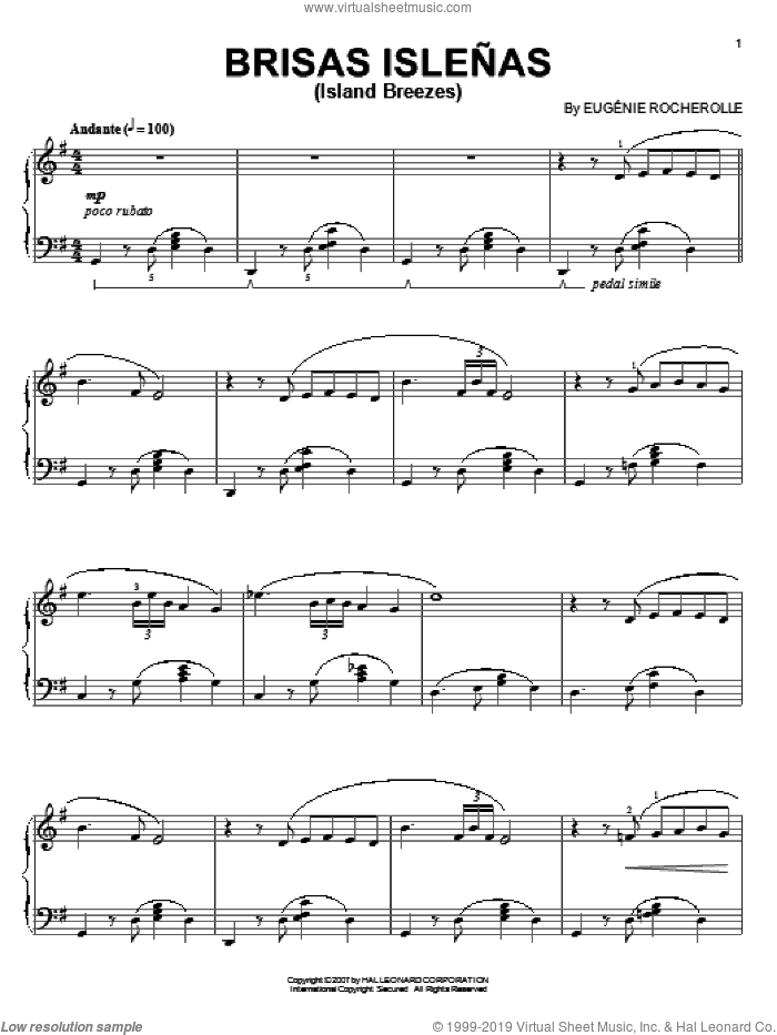Brisas Islenas (Island Breezes) sheet music for piano solo by Eugenie Rocherolle, intermediate. Score Image Preview.