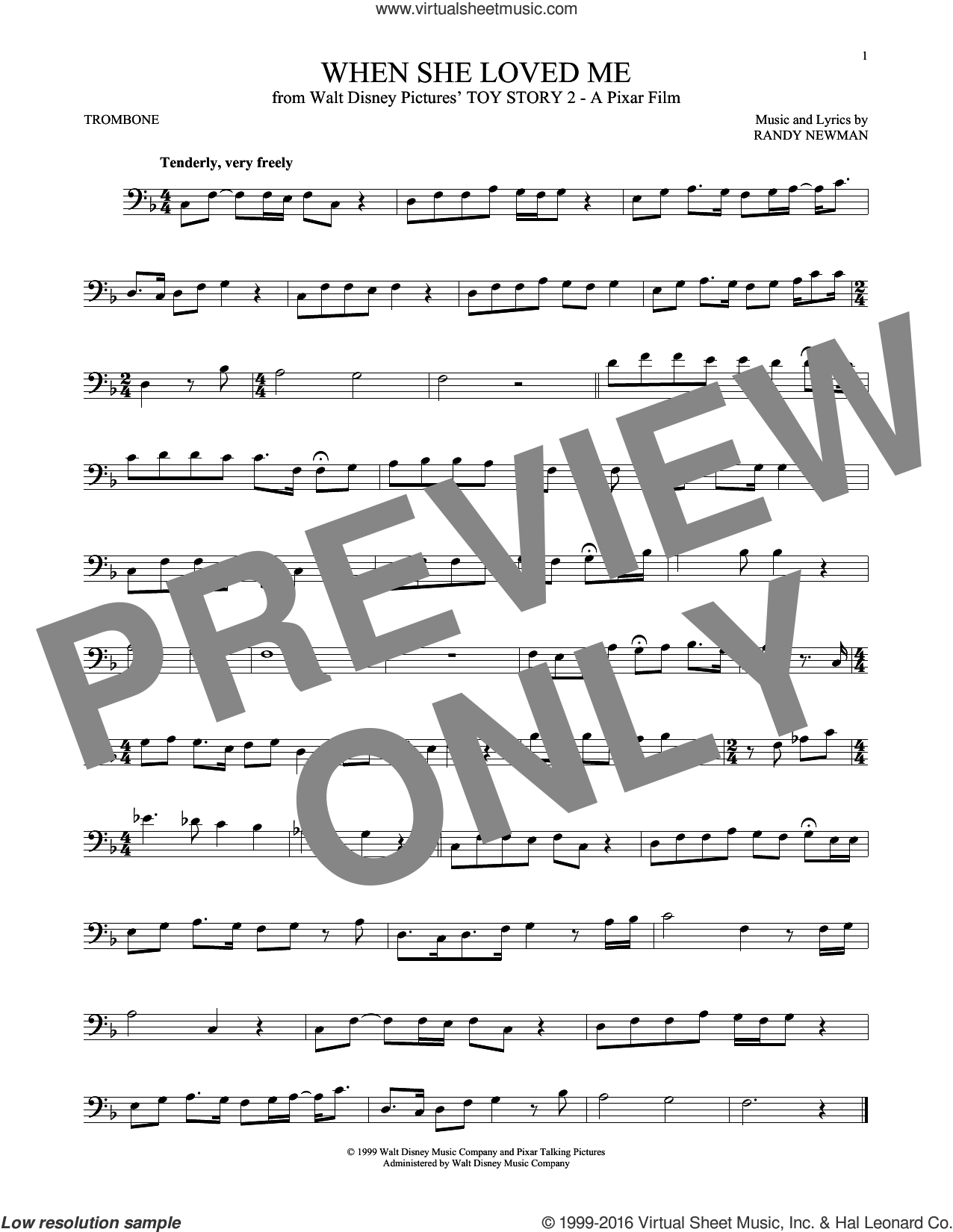 When She Loved Me (from Toy Story 2) sheet music for trombone solo by Sarah McLachlan and Randy Newman, intermediate skill level