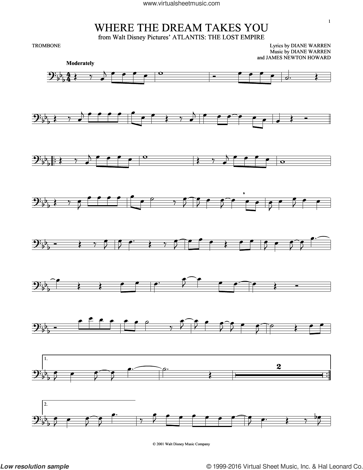 Where The Dream Takes You sheet music for trombone solo by Diane Warren and James Newton Howard, intermediate trombone. Score Image Preview.