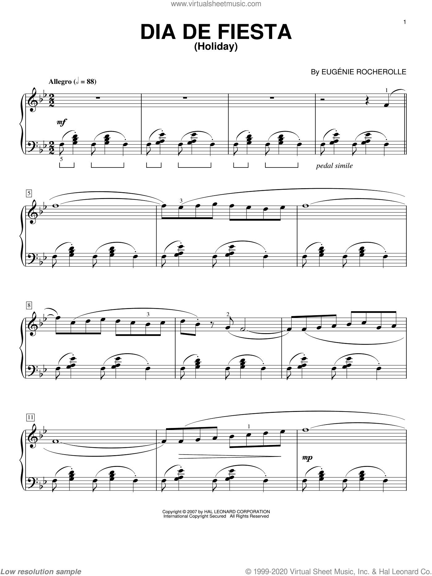 Dia De Fiesta (Holiday) sheet music for piano solo by Eugénie Rocherolle and Eugenie Rocherolle, intermediate piano. Score Image Preview.