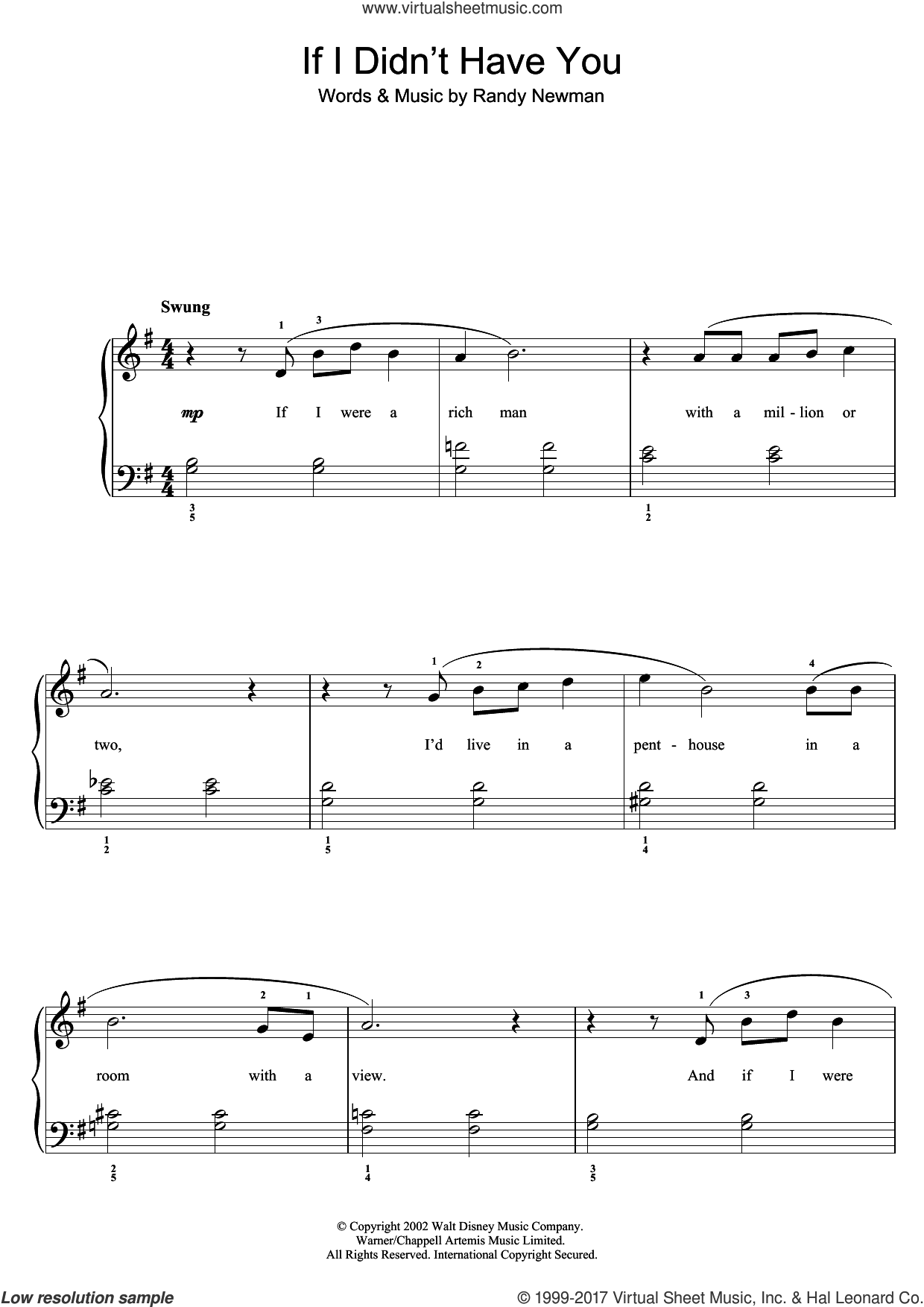 If I Didn't Have You (from Monsters, Inc.) sheet music for piano solo by Randy Newman, easy skill level