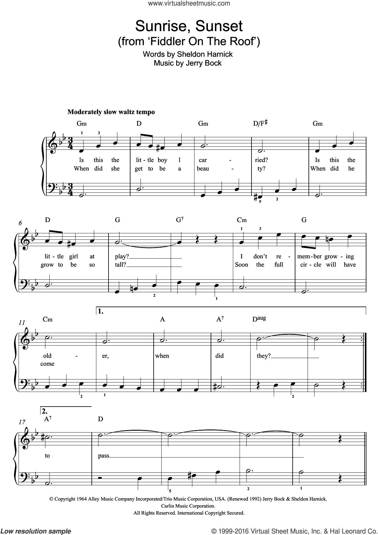 Sunrise, Sunset (from Fiddler On The Roof) sheet music for piano solo by Jerry Bock and Sheldon Harnick, easy. Score Image Preview.