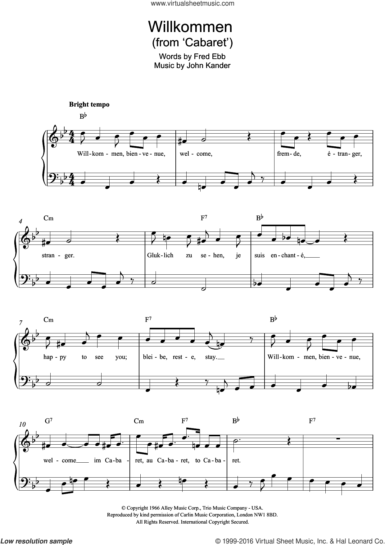 Willkommen (from Cabaret) sheet music for piano solo by Kander & Ebb, John Kander and Fred Ebb, easy skill level