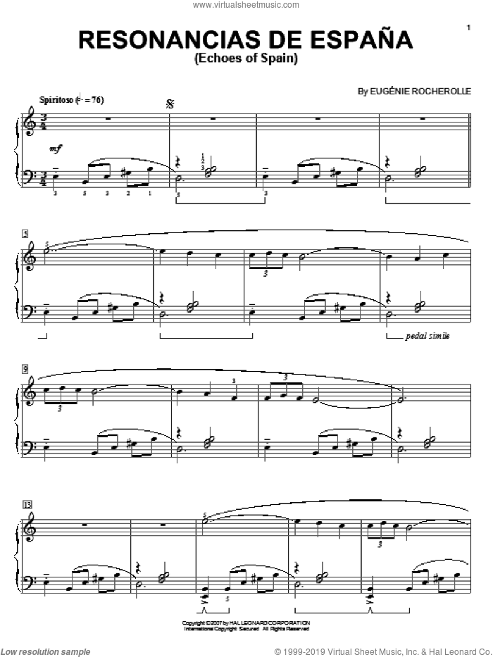 Resonancias De Espana (Echoes Of Spain) sheet music for piano solo by Eugenie Rocherolle, intermediate skill level