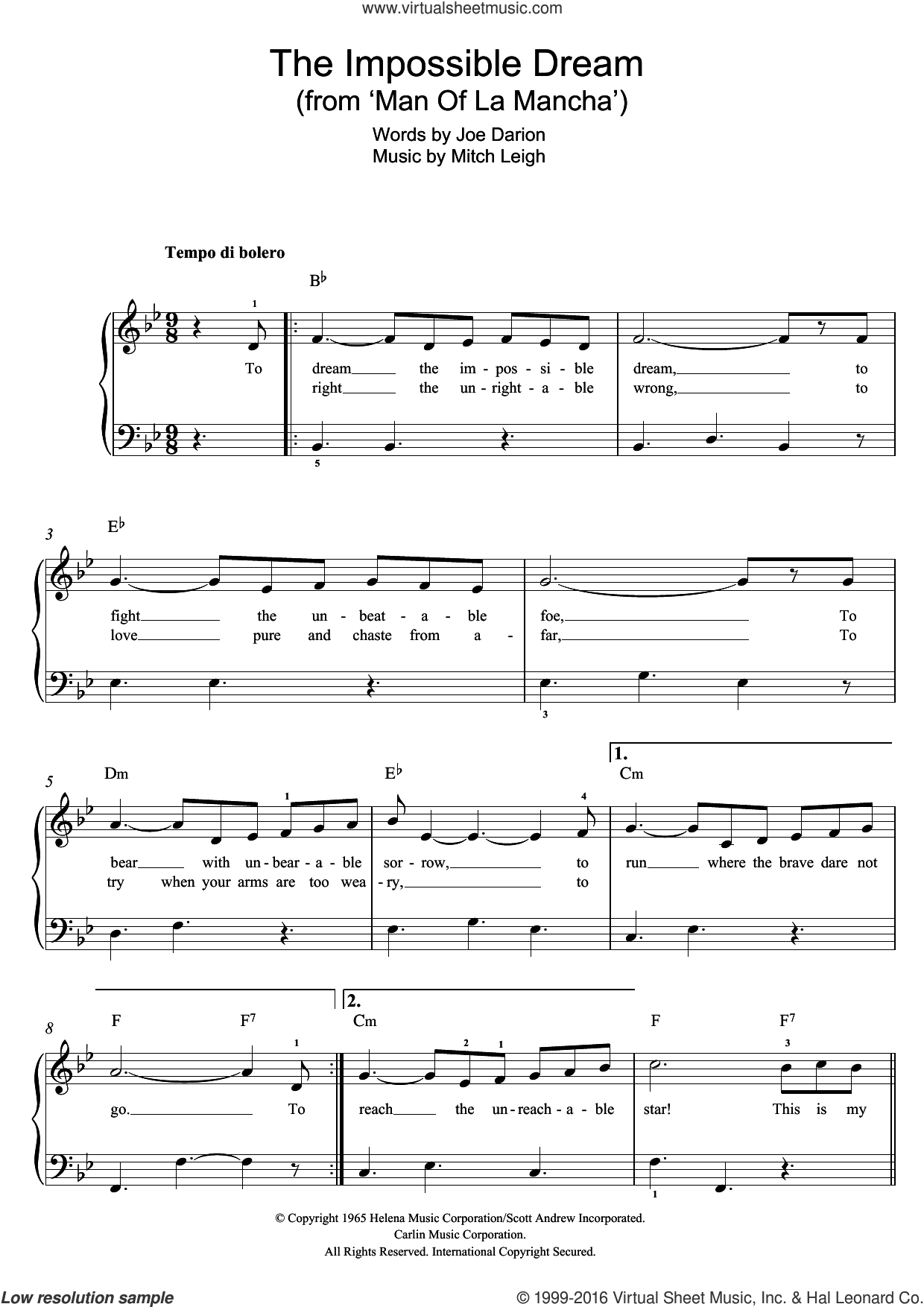 The Impossible Dream (from Man Of La Mancha) sheet music for piano solo by Andy Williams, Mitch Leigh and Joe Darion, easy skill level