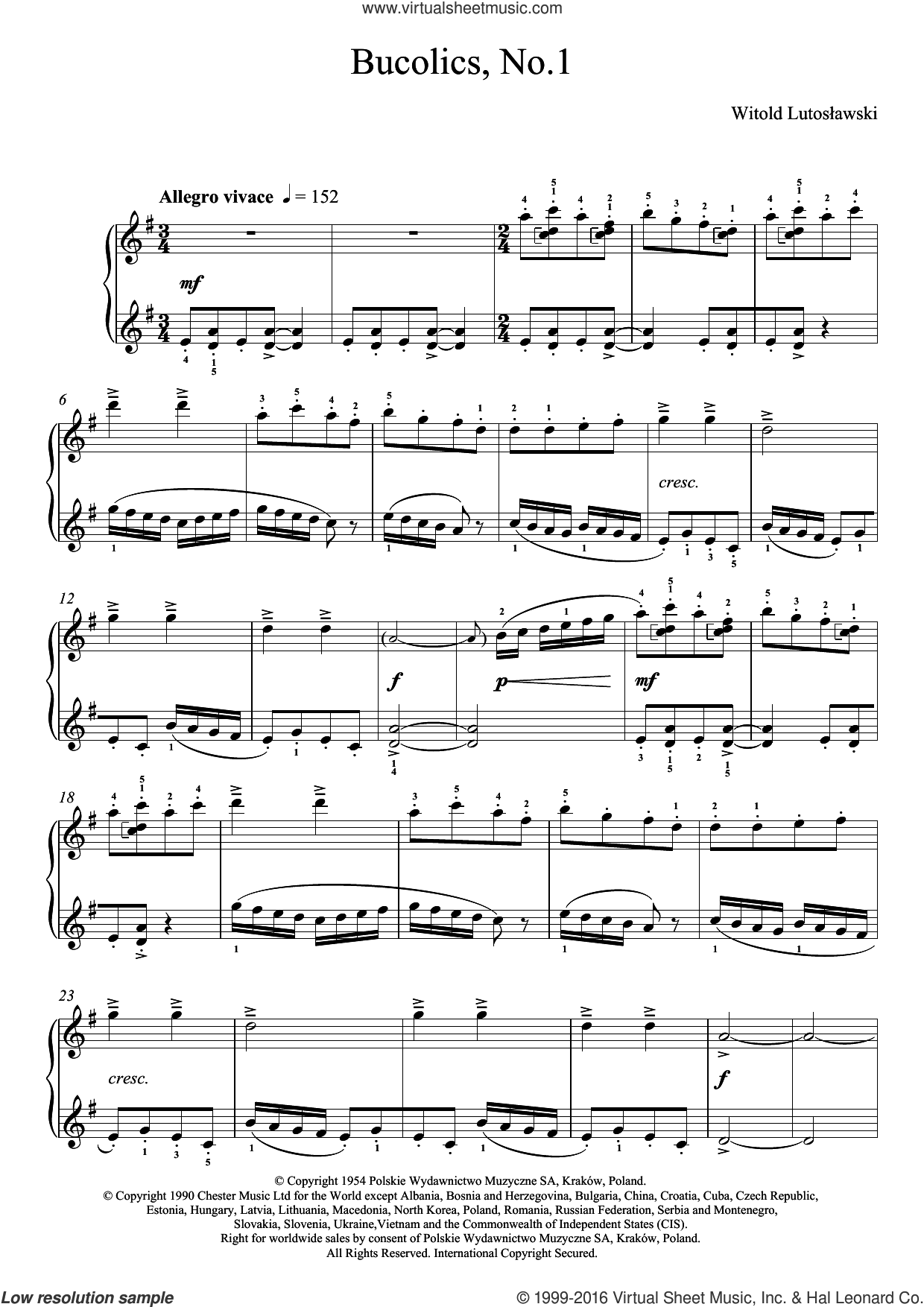 Bucolics, No.1 sheet music for piano solo by Witold Lutoslawski, classical score, intermediate skill level