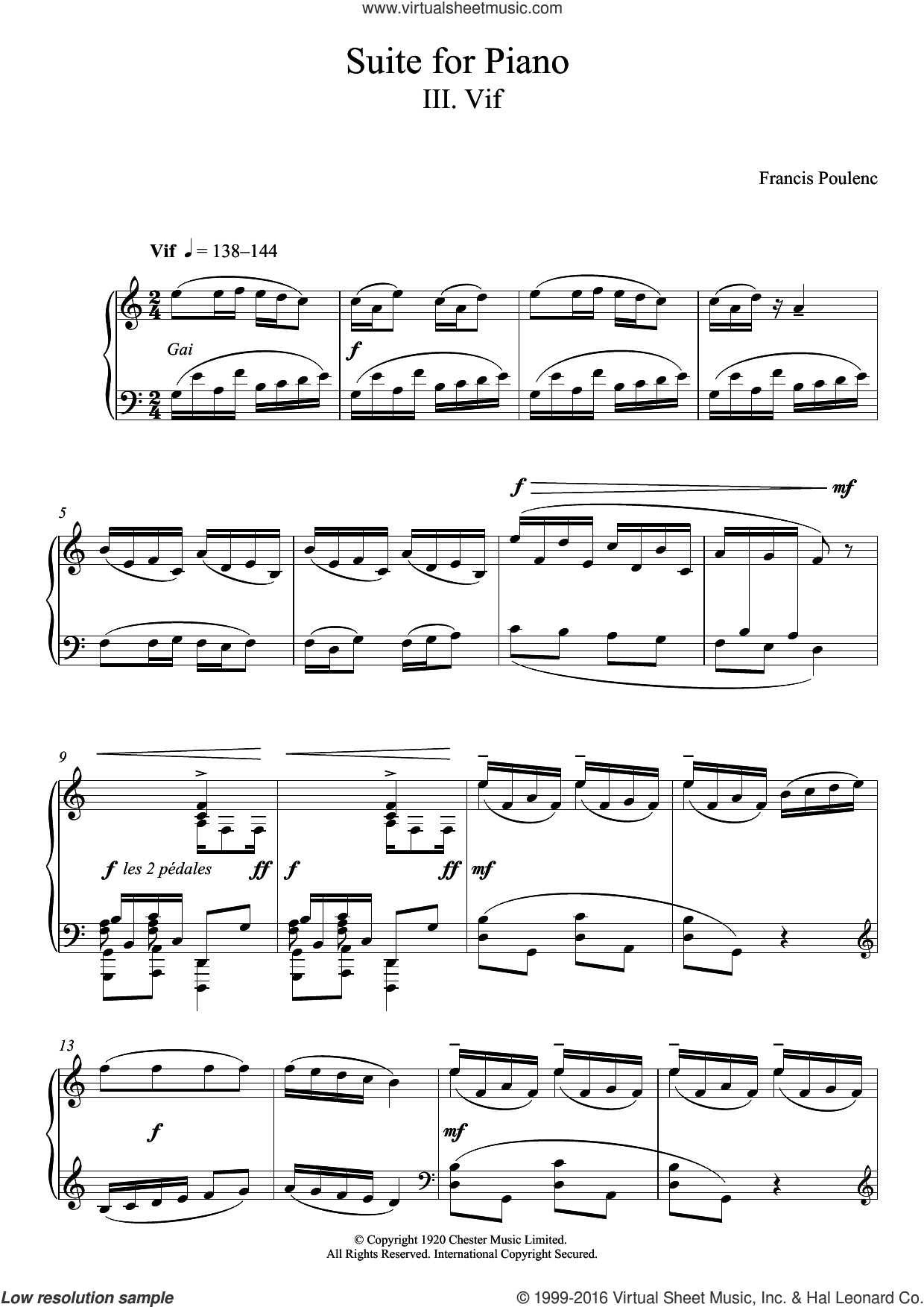 Suite for Piano - III. Vif sheet music for piano solo by Francis Poulenc. Score Image Preview.