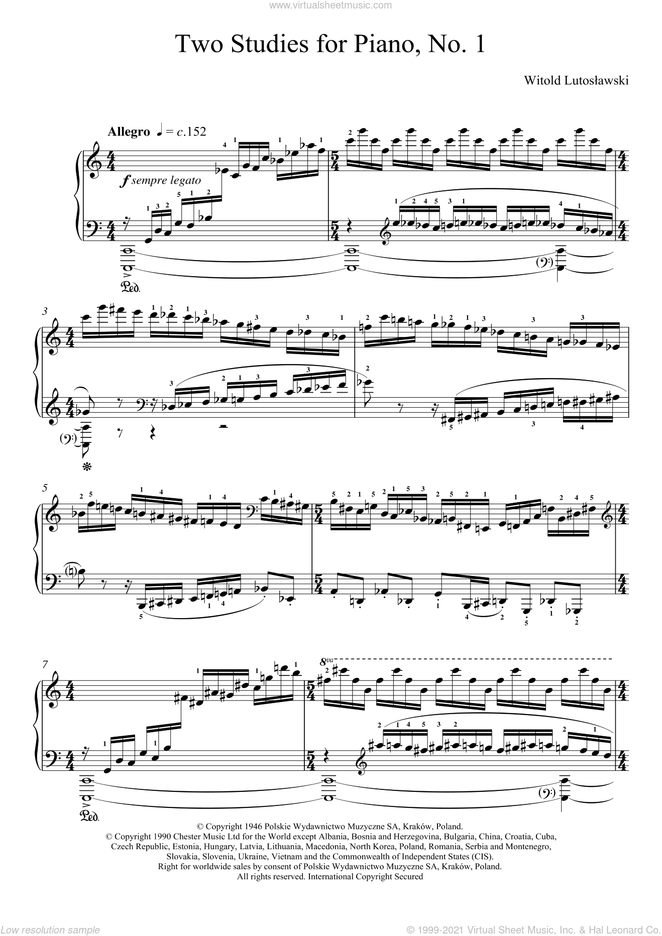 Two Studies For Piano, 1. Allegro sheet music for piano solo by Witold Lutoslawski. Score Image Preview.