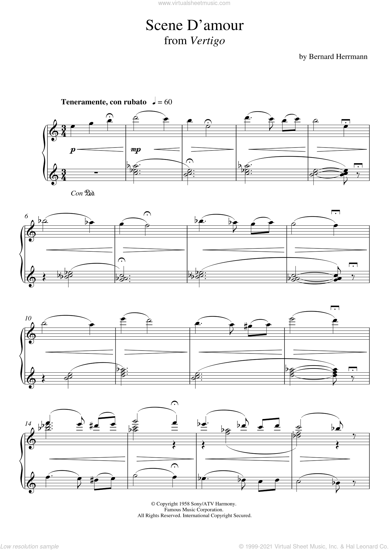 Scene D'amour From Vertigo sheet music for piano solo by Bernard Herrmann, intermediate skill level
