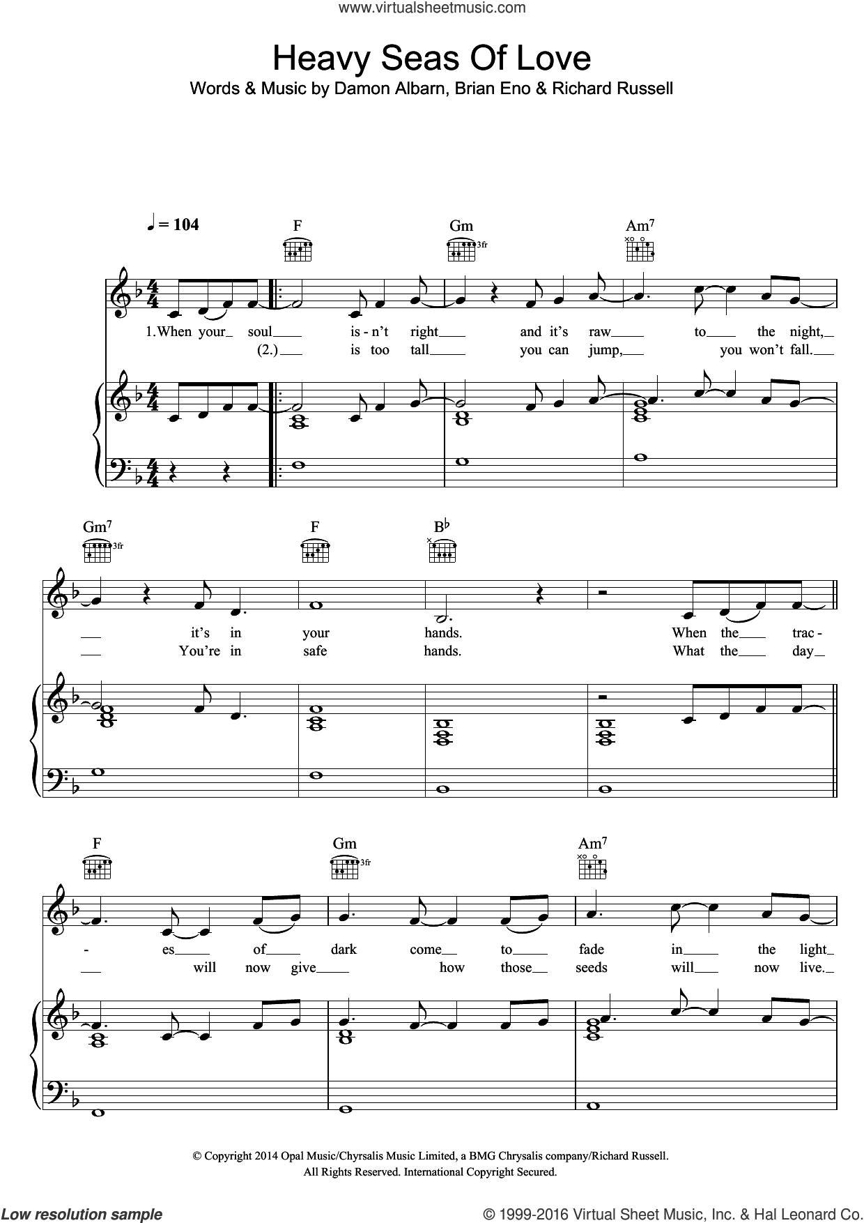 Heavy Seas Of Love sheet music for voice, piano or guitar by Damon Albarn, Brian Eno and Richard Russell, intermediate skill level
