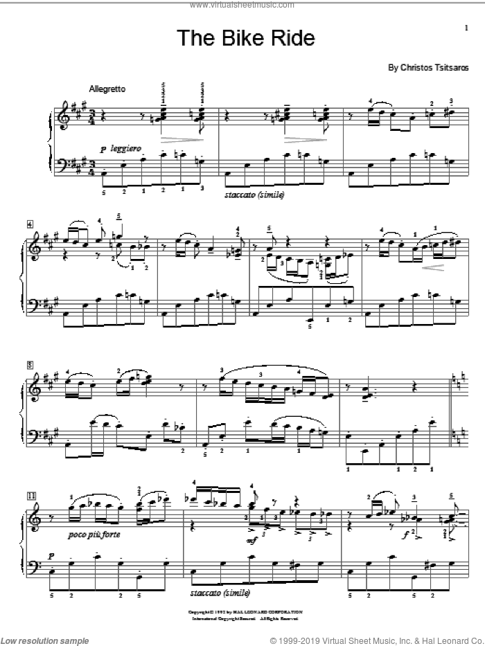 The Bike Ride sheet music for piano solo (elementary) by Christos Tsitsaros and Miscellaneous, beginner piano (elementary)