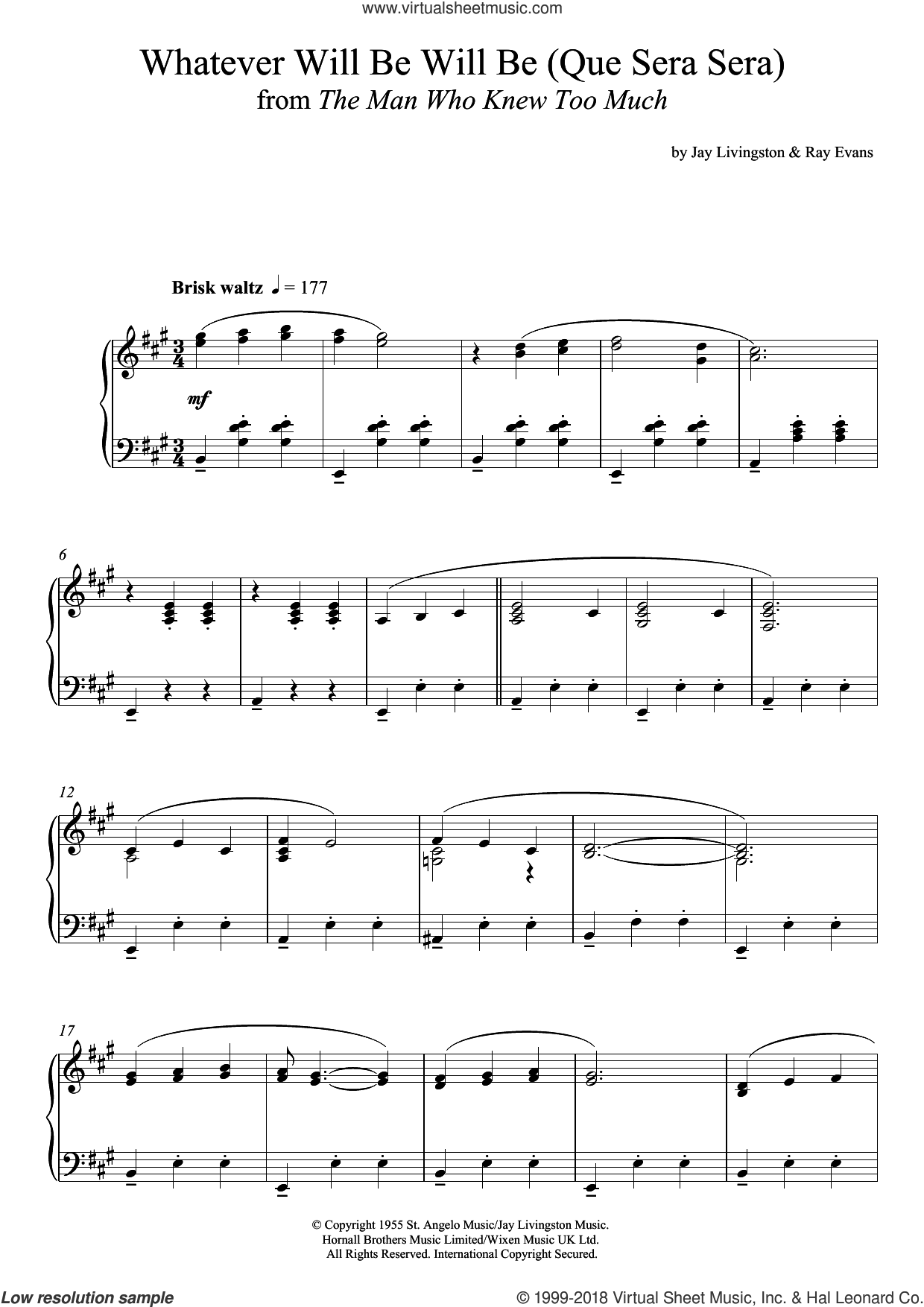 Whatever Will Be, Will Be (Que Sera Sera) sheet music for piano solo by Jay Livingston