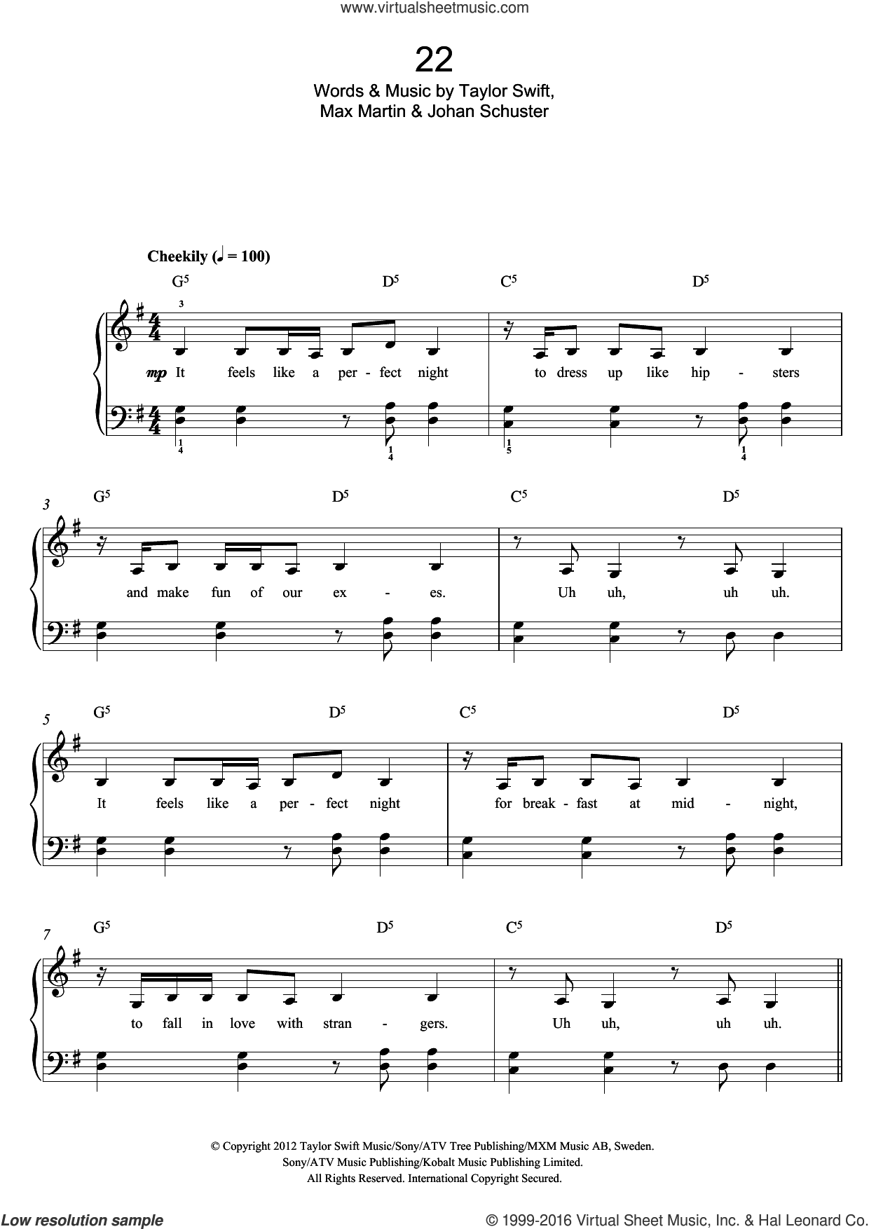 22 sheet music for piano solo by Taylor Swift, Max Martin and Shellback, easy skill level