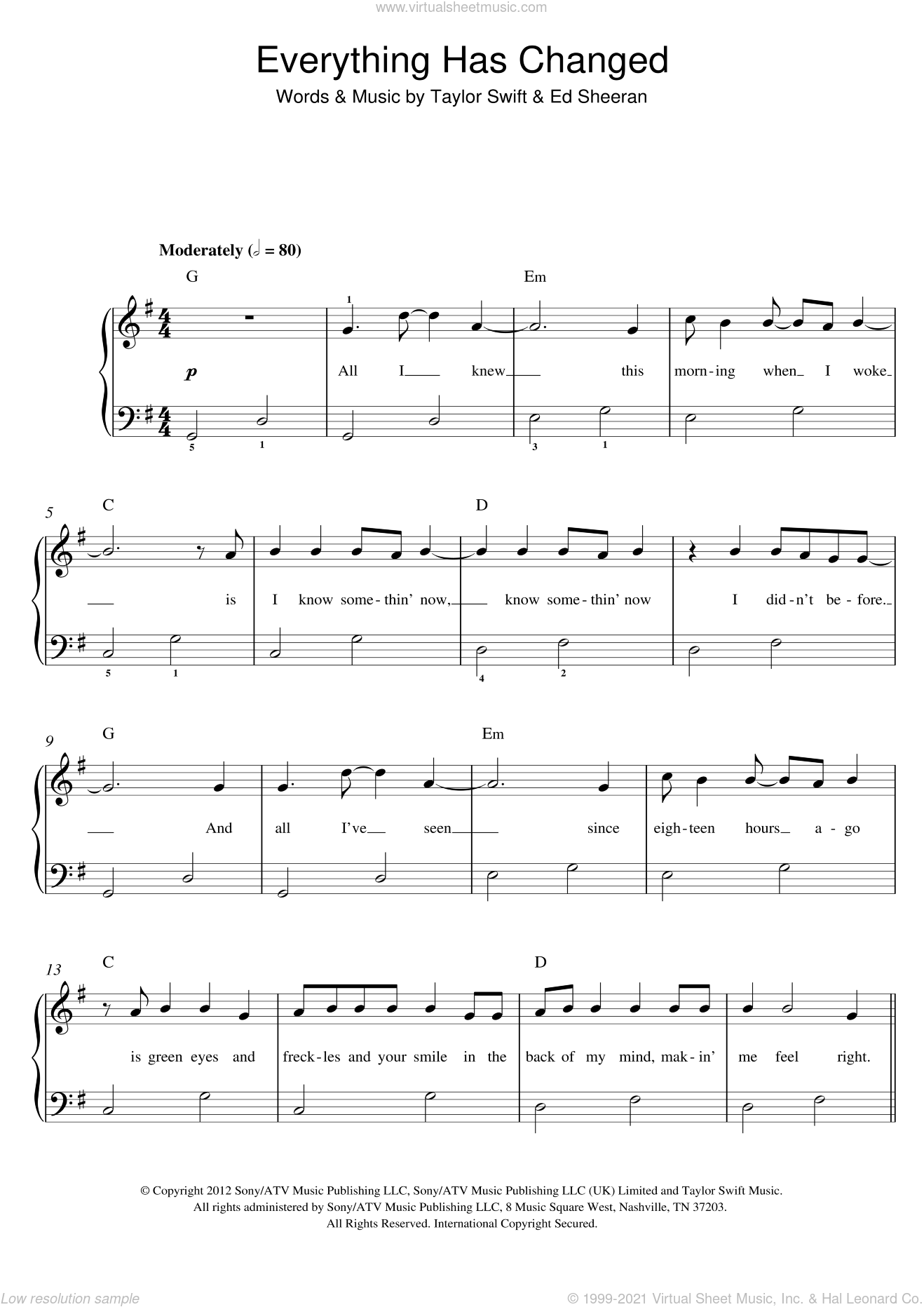Everything Has Changed (feat. Ed Sheeran) sheet music for piano solo by Taylor Swift and Ed Sheeran, easy skill level