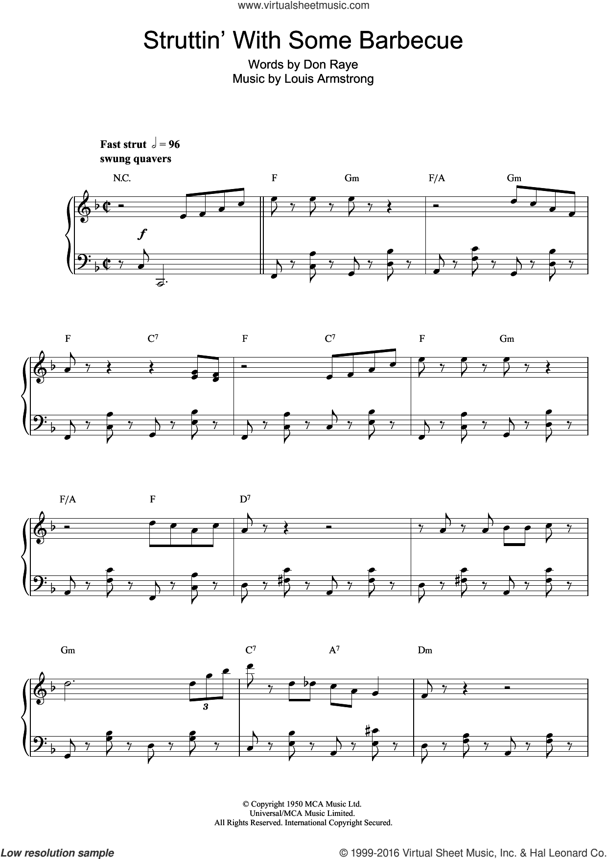 Struttin' With Some Barbecue sheet music for piano solo by Don Raye and Louis Armstrong. Score Image Preview.