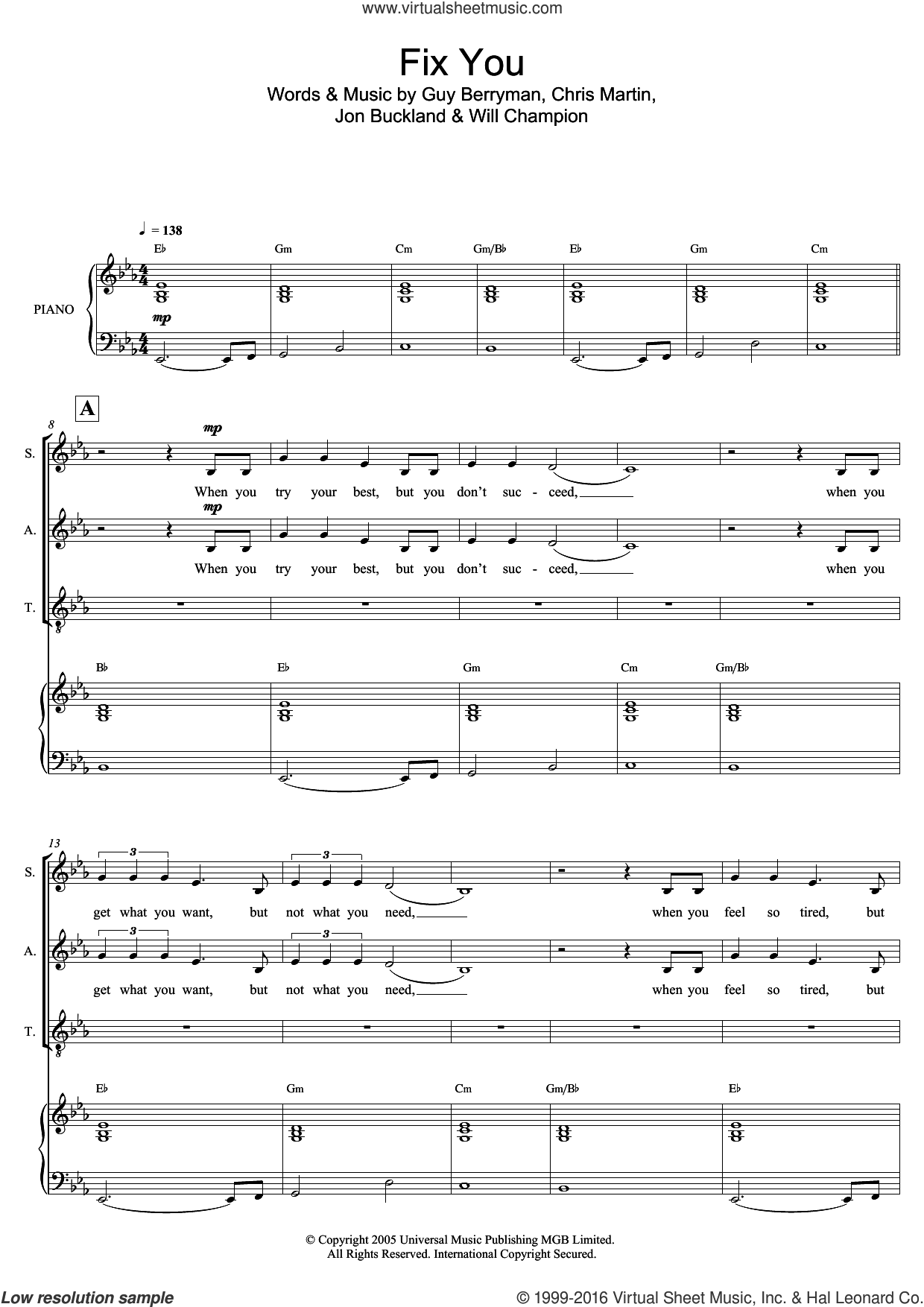 Fix You sheet music for voice, piano or guitar by Coldplay, Mark De-Lisser, Chris Martin, Guy Berryman, Jon Buckland and Will Champion, intermediate skill level