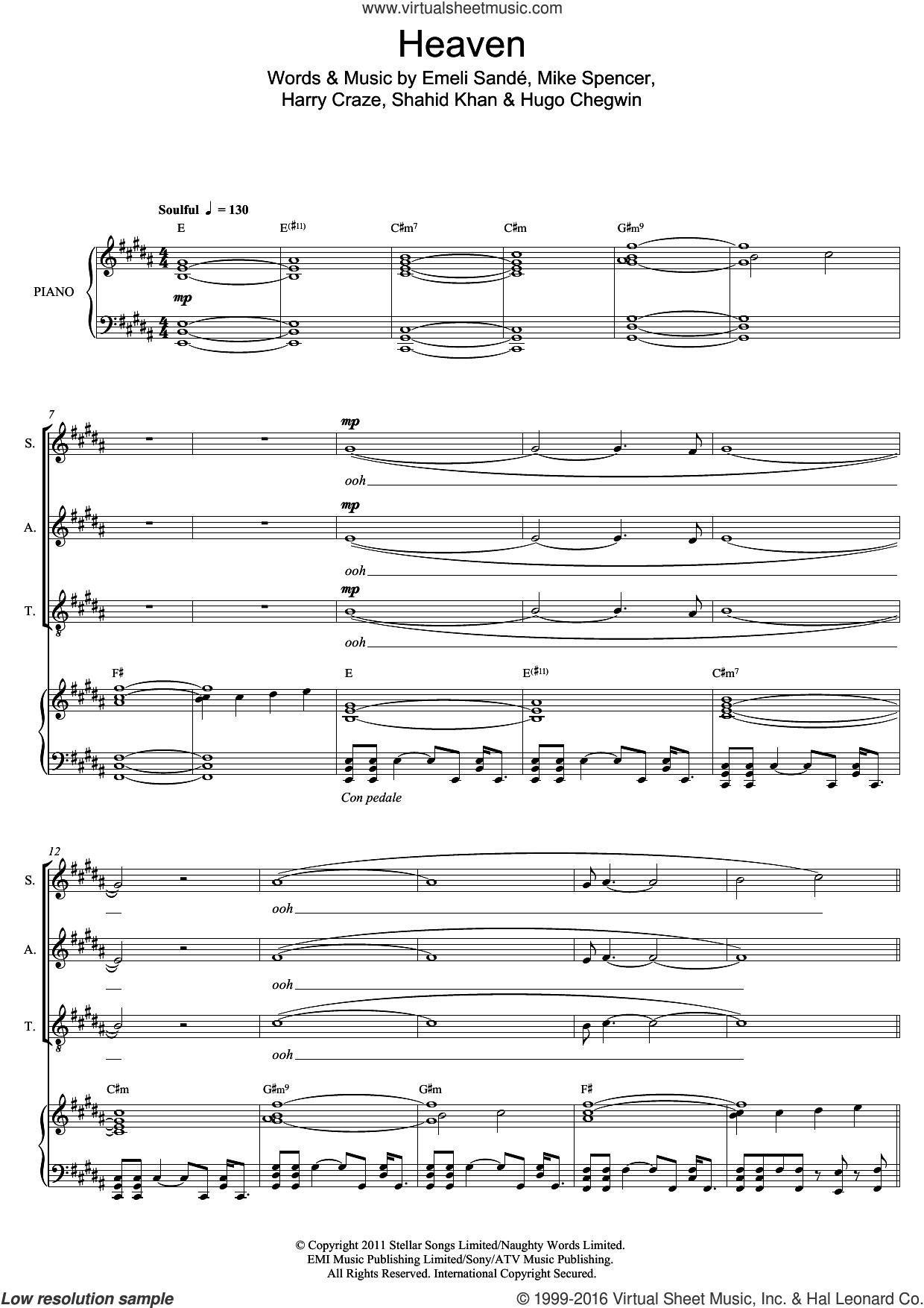 Heaven sheet music for voice, piano or guitar by Emeli Sande, Mark De-Lisser, Harry Craze, Hugo Chegwin, Mike Spencer and Shahid Khan, intermediate skill level