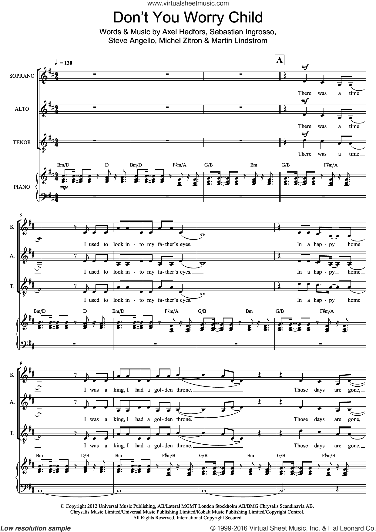 Don't You Worry Child sheet music for voice, piano or guitar by Axel Hedfors, Swedish House Mafia, Michel Zitron and Steve Angello. Score Image Preview.