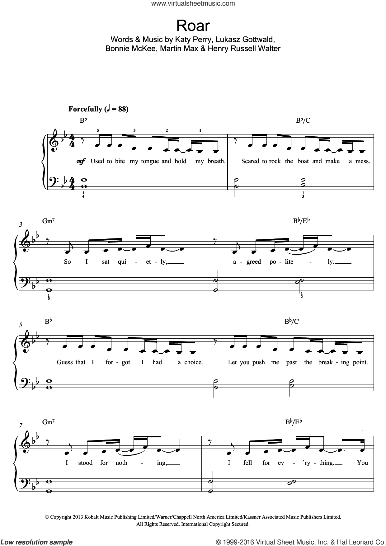 Roar sheet music for piano solo (beginners) by Katy Perry, Bonnie McKee, Henry Russell Walter, Lukasz Gottwald and Martin Max, beginner piano (beginners)