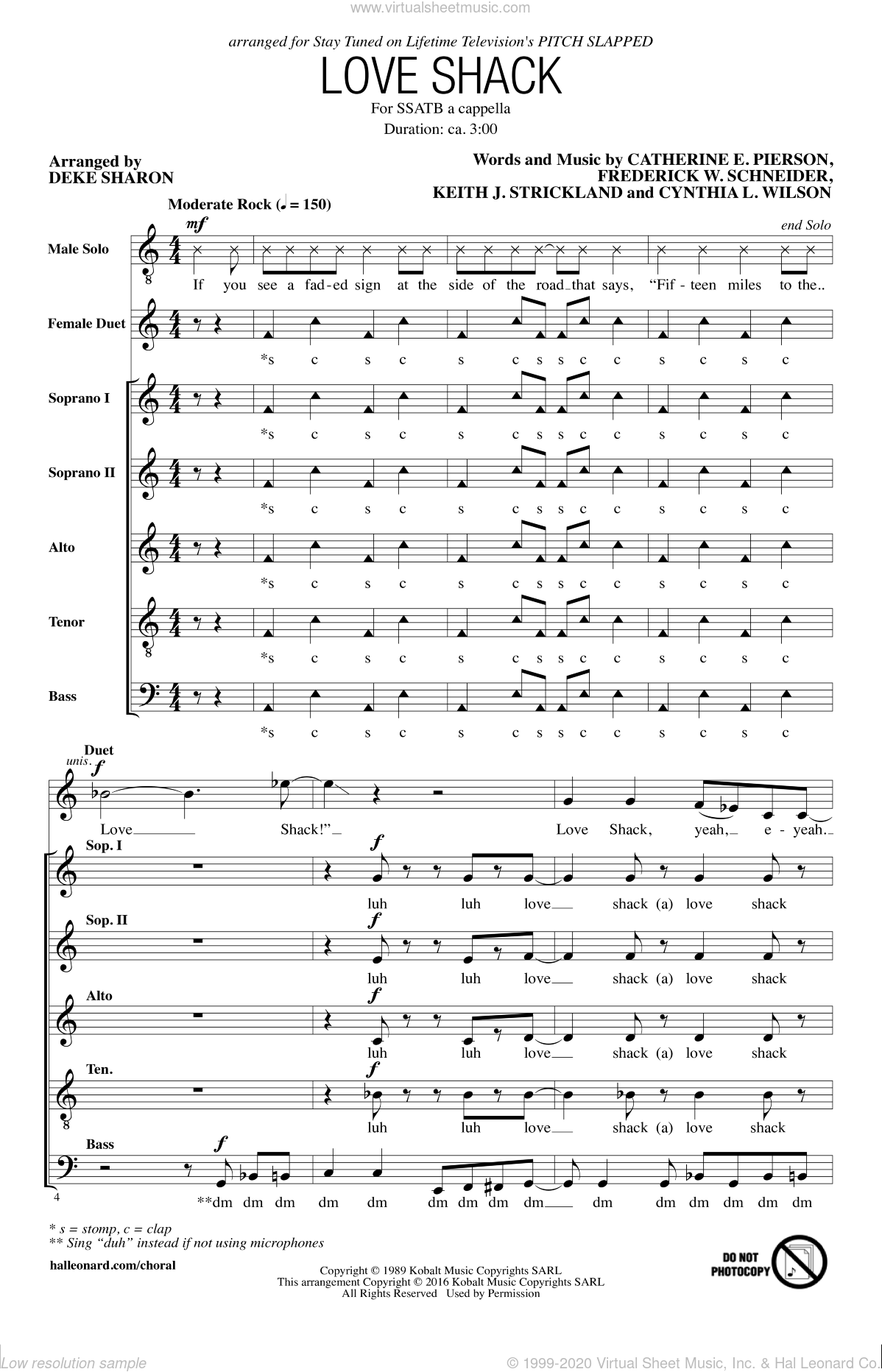 Love Shack sheet music for choir and piano by Deke Sharon