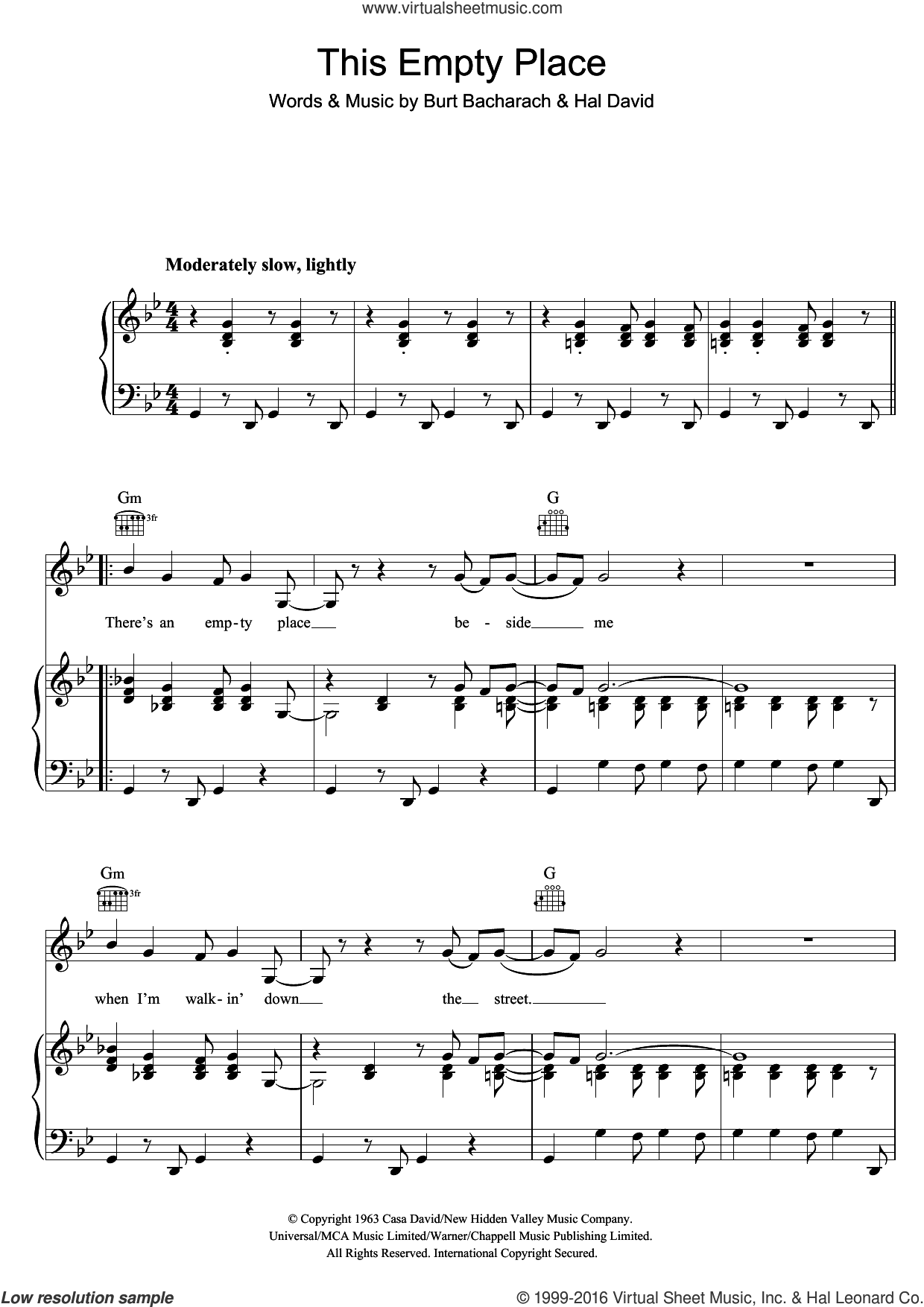 This Empty Place sheet music for voice, piano or guitar by Dionne Warwick, Burt Bacharach and Hal David, intermediate