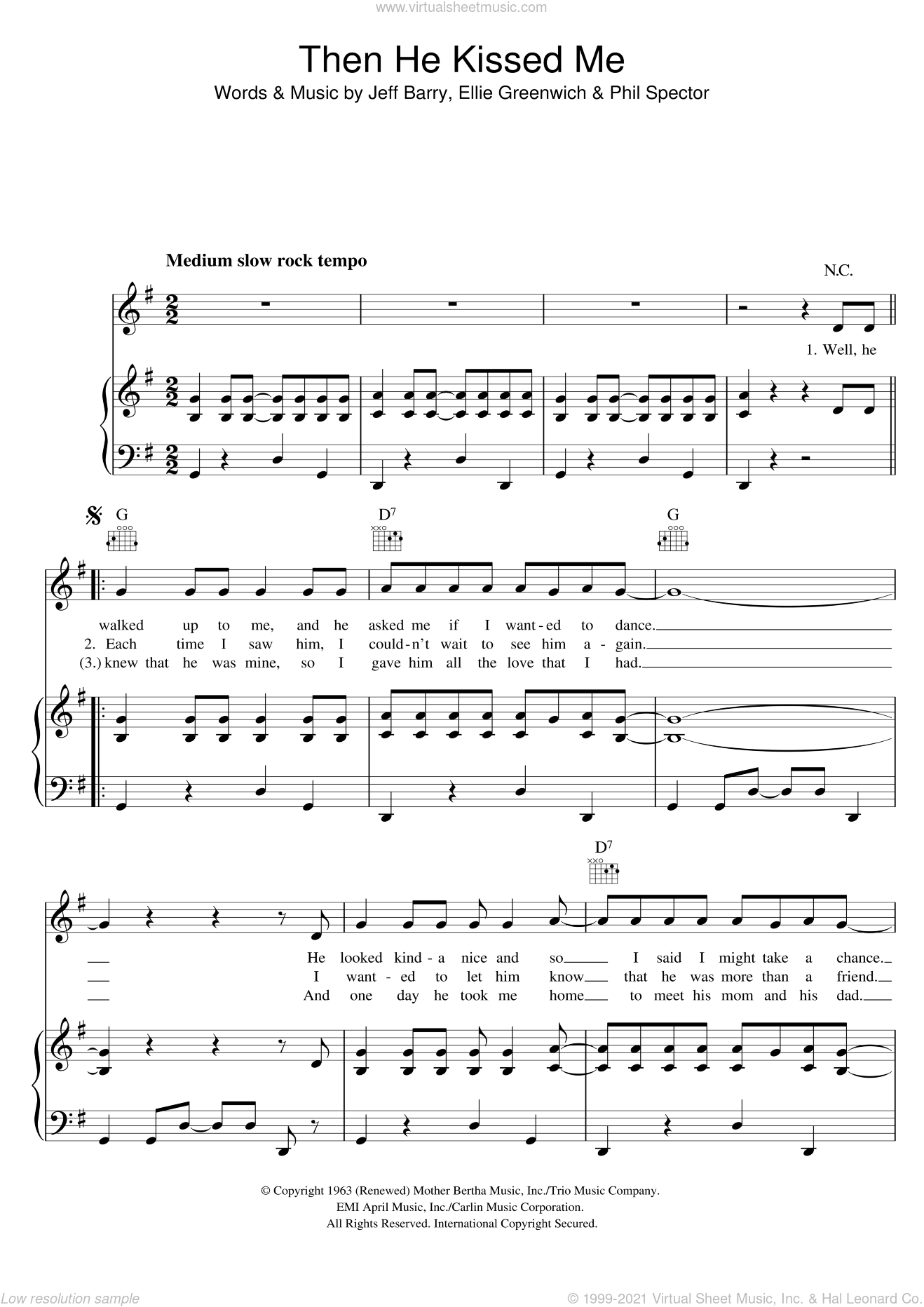 (And) Then He Kissed Me sheet music for voice, piano or guitar by The Crystals, Ellie Greenwich, Jeff Barry and Phil Spector, intermediate skill level
