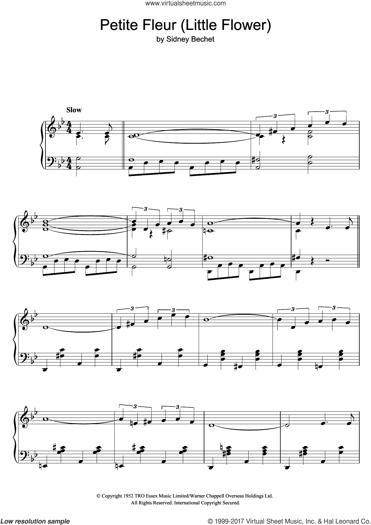 Petite Fleur (Little Flower) sheet music for piano solo by Chris Barber's Jazz Band and Sidney Bechet, intermediate skill level