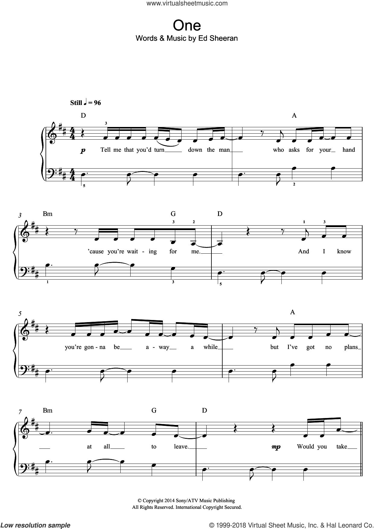 One sheet music for piano solo by Ed Sheeran, easy skill level