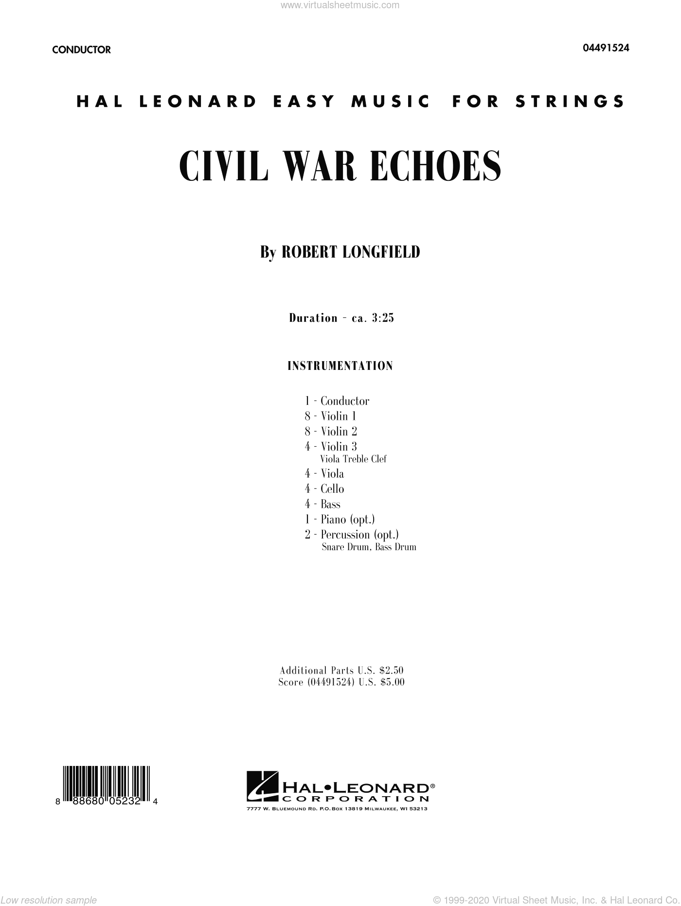 Civil War Echoes sheet music for orchestra (full score) by Robert Longfield, intermediate