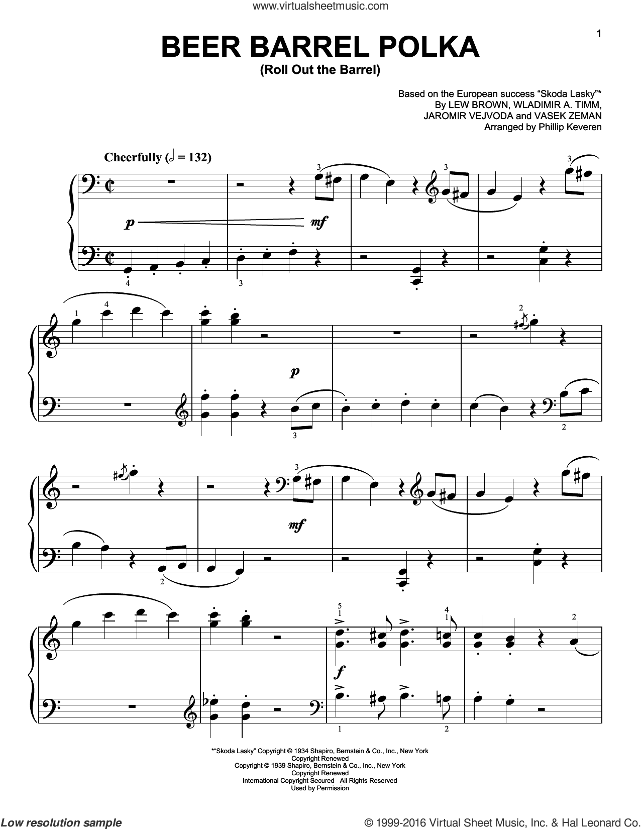 Beer Barrel Polka (Roll Out The Barrel) sheet music for piano solo by Lew Brown, Phillip Keveren, Bobby Vinton and Miscellaneous, easy piano. Score Image Preview.