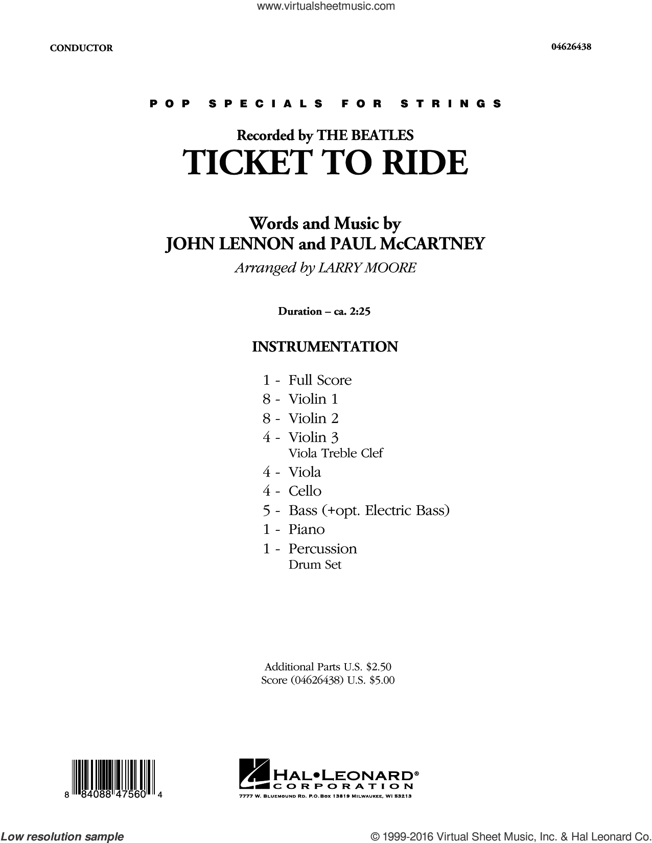 Ticket to Ride sheet music for orchestra (full score) by Paul McCartney