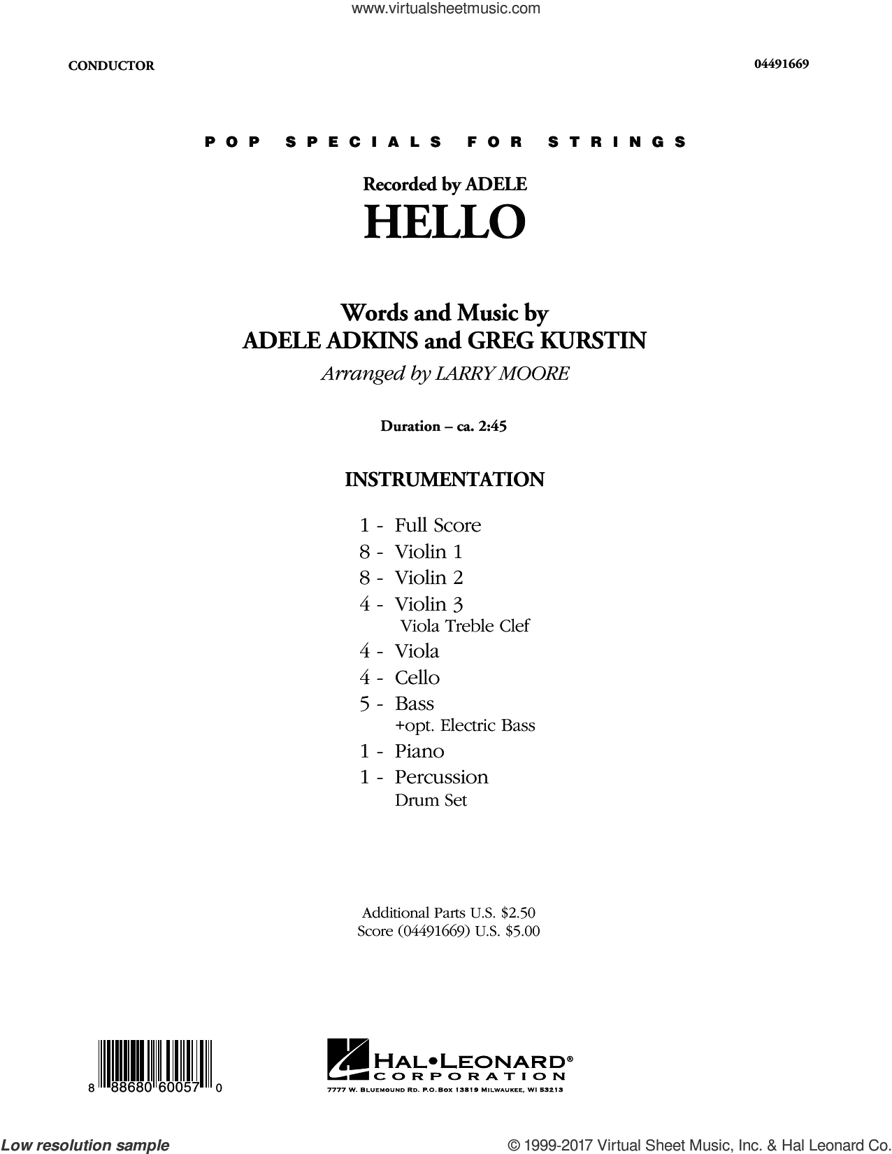 Hello (COMPLETE) sheet music for orchestra by Adele, Greg Kurstin and Larry Moore, intermediate. Score Image Preview.