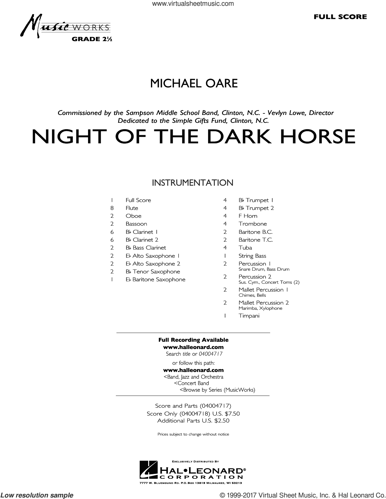 Night of the Dark Horse (COMPLETE) sheet music for concert band by Michael Oare, intermediate skill level