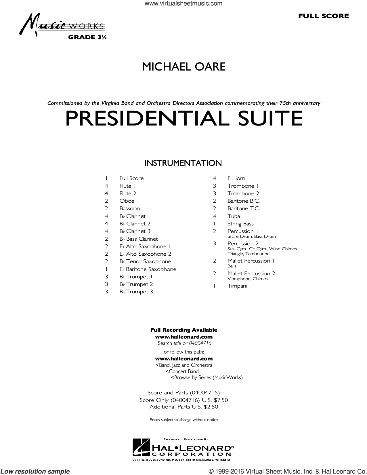 Presidential Suite sheet music for concert band (full score) by Michael Oare. Score Image Preview.