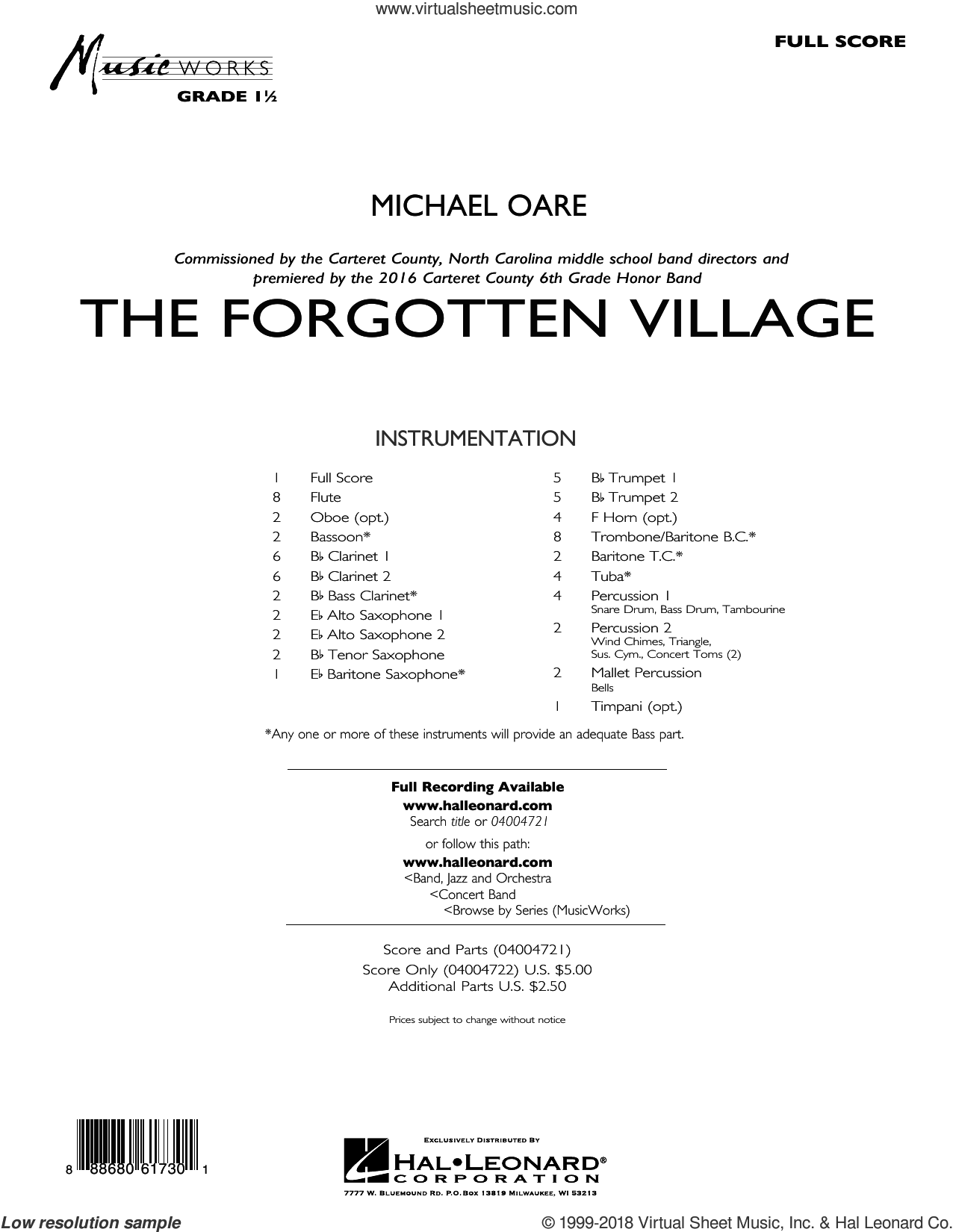 The Forgotten Village (COMPLETE) sheet music for concert band by Michael Oare, intermediate