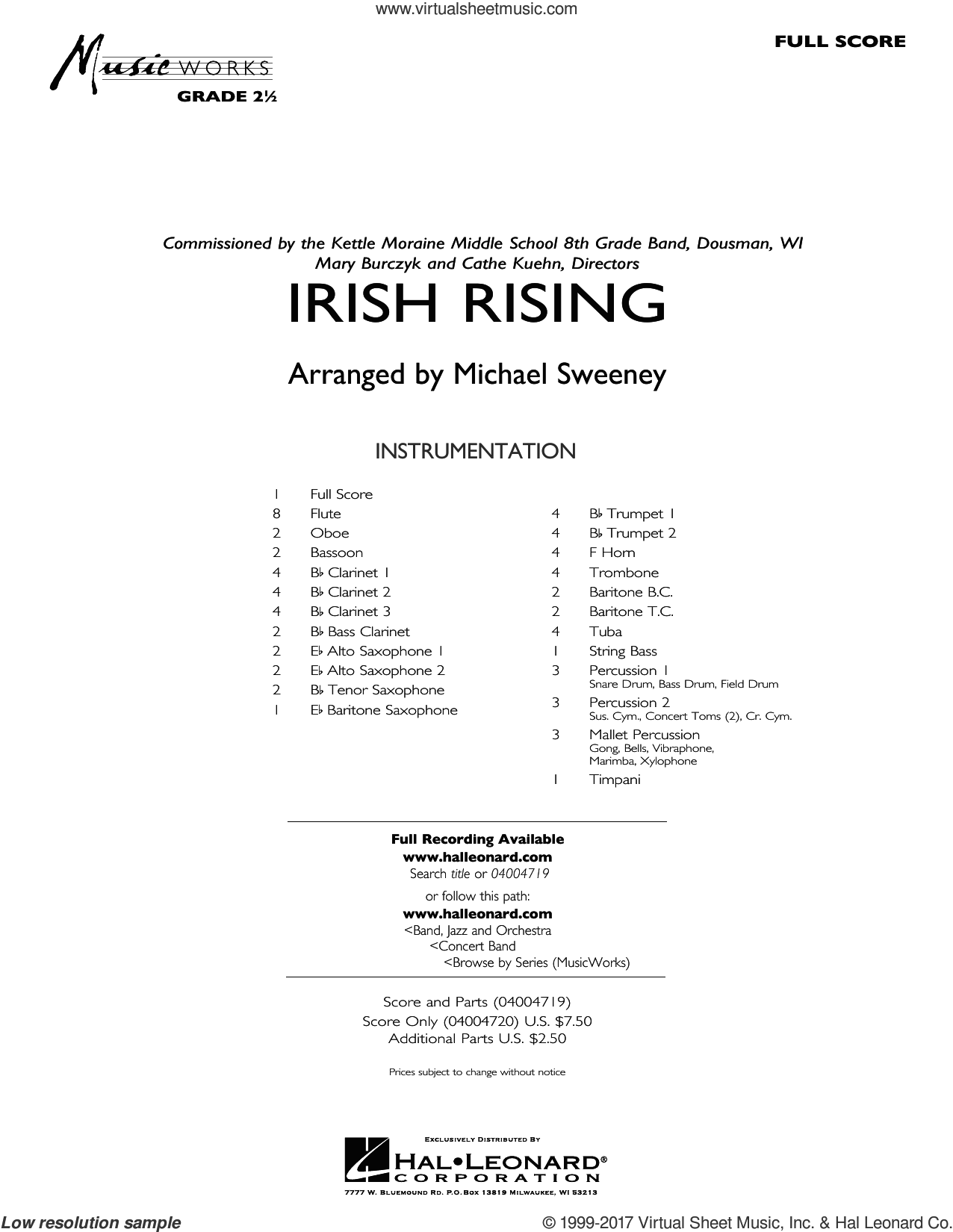 Irish Rising (COMPLETE) sheet music for concert band by Michael Sweeney and Traditional Irish Folksong, intermediate