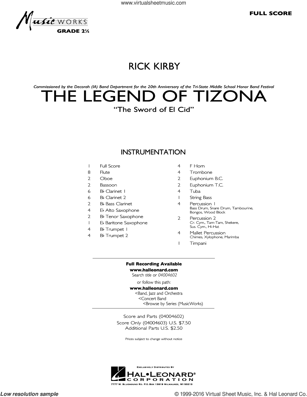 The Legend of Tizona sheet music for concert band (full score) by Rick Kirby. Score Image Preview.