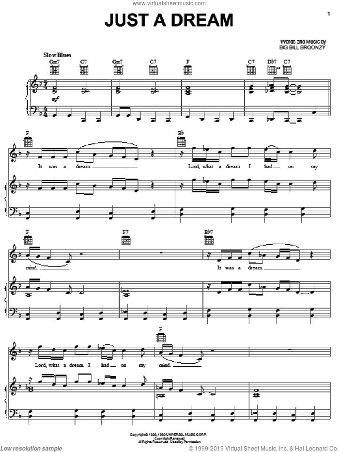 Just A Dream sheet music for voice, piano or guitar by Big Bill Broonzy and Jimmy Clanton. Score Image Preview.