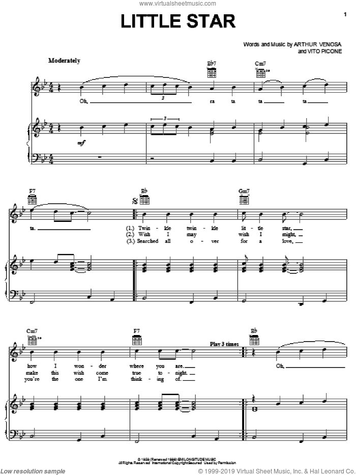 Little Star sheet music for voice, piano or guitar by The Elegants. Score Image Preview.