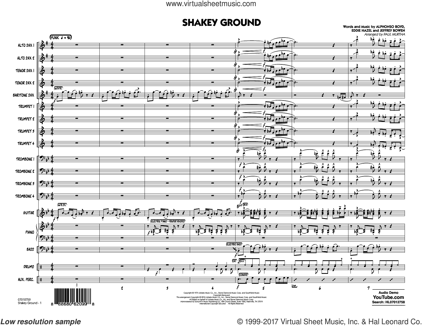 Shakey Ground (COMPLETE) sheet music for jazz band by Elton John, Alphonso Boyd, Eddie Hazel, Jeffrey Bowen and Paul Murtha, intermediate. Score Image Preview.