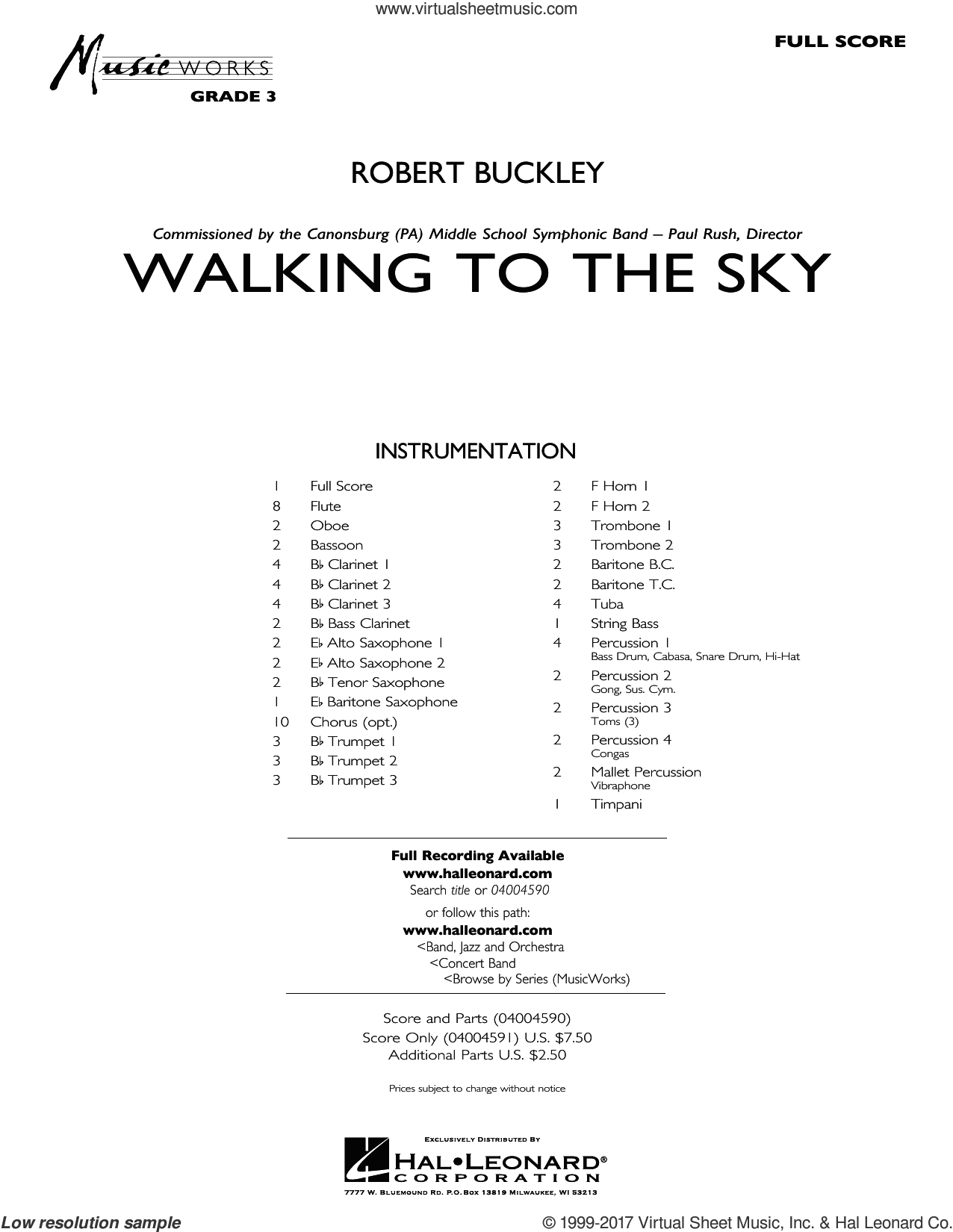 Walking to the Sky (COMPLETE) sheet music for concert band by Robert Buckley, intermediate. Score Image Preview.