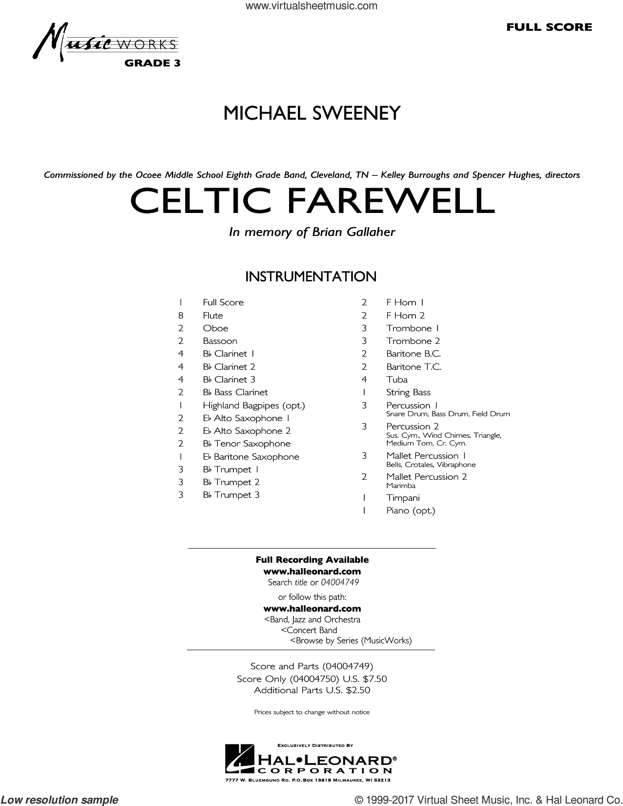 Celtic Farewell (COMPLETE) sheet music for concert band by Michael Sweeney, intermediate. Score Image Preview.