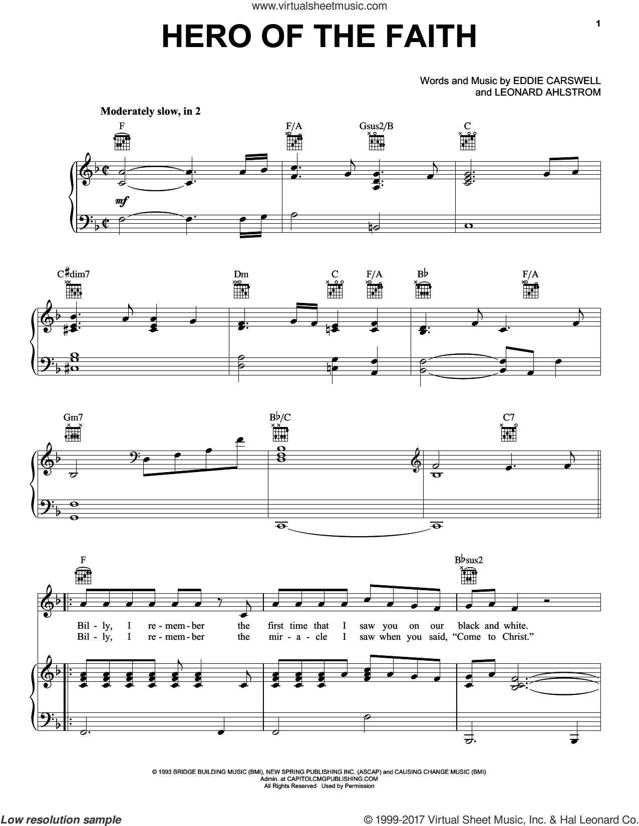Hero Of The Faith sheet music for voice, piano or guitar by Leonard Ahlstrom, Newsong and Eddie Carswell. Score Image Preview.