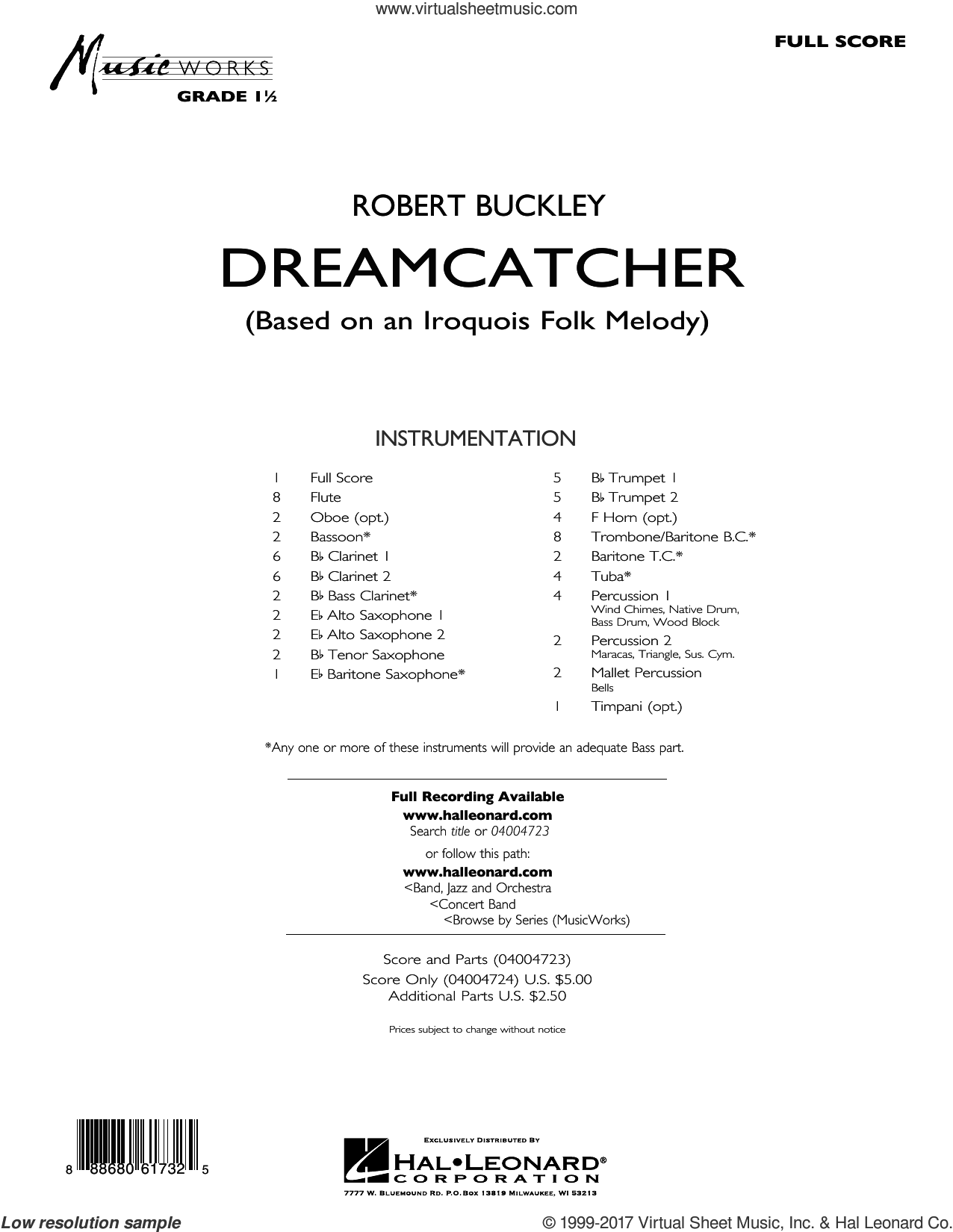 Dreamcatcher (COMPLETE) sheet music for concert band by Robert Buckley, intermediate concert band. Score Image Preview.